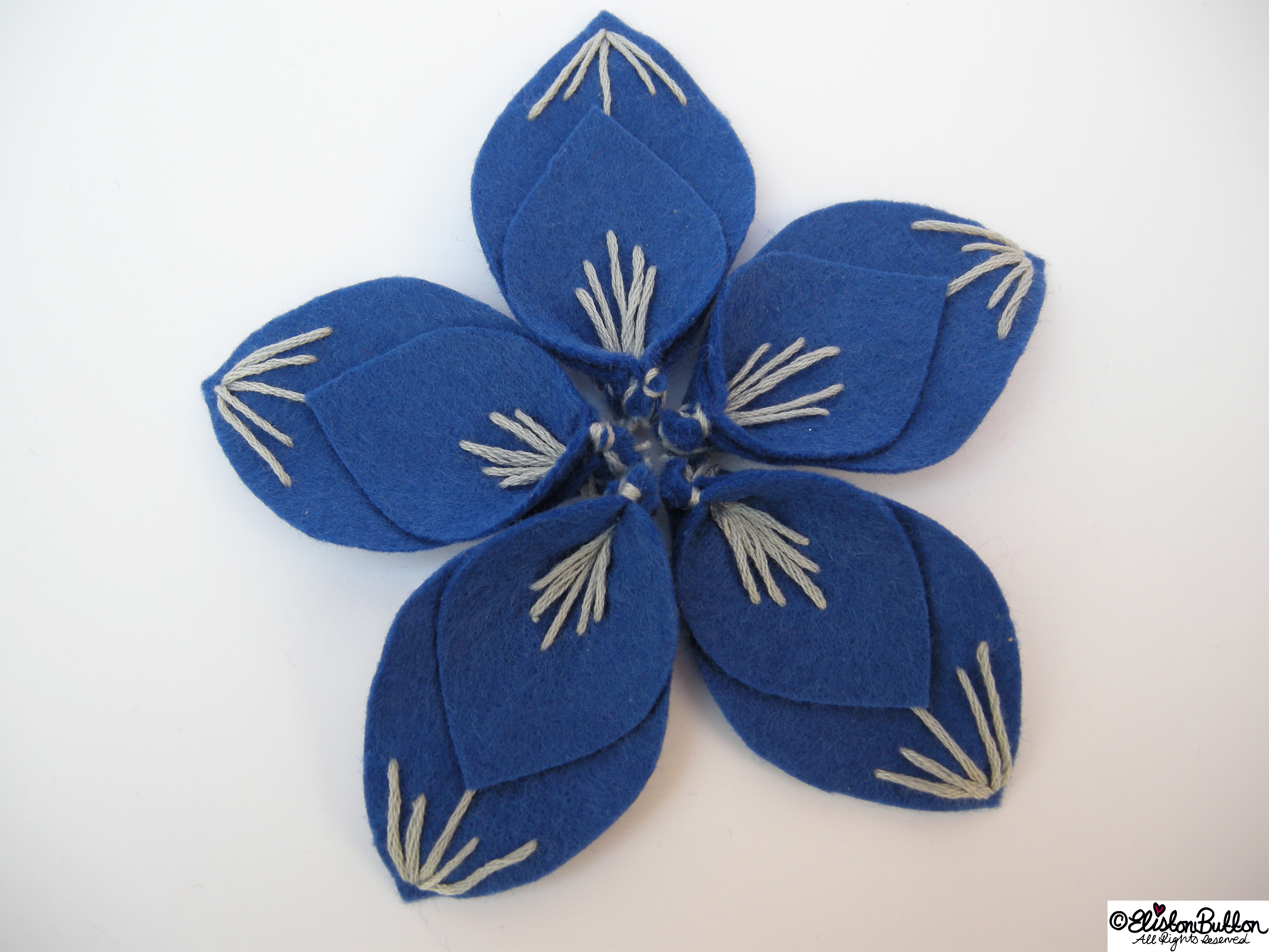Out of the Blue Embroidered Felt Flower Brooch - Putting together the Pieces - 27 Before 27 - Out of the Blue at www.elistonbutton.com - Eliston Button - That Crafty Kid – Art, Design, Craft & Adventure.