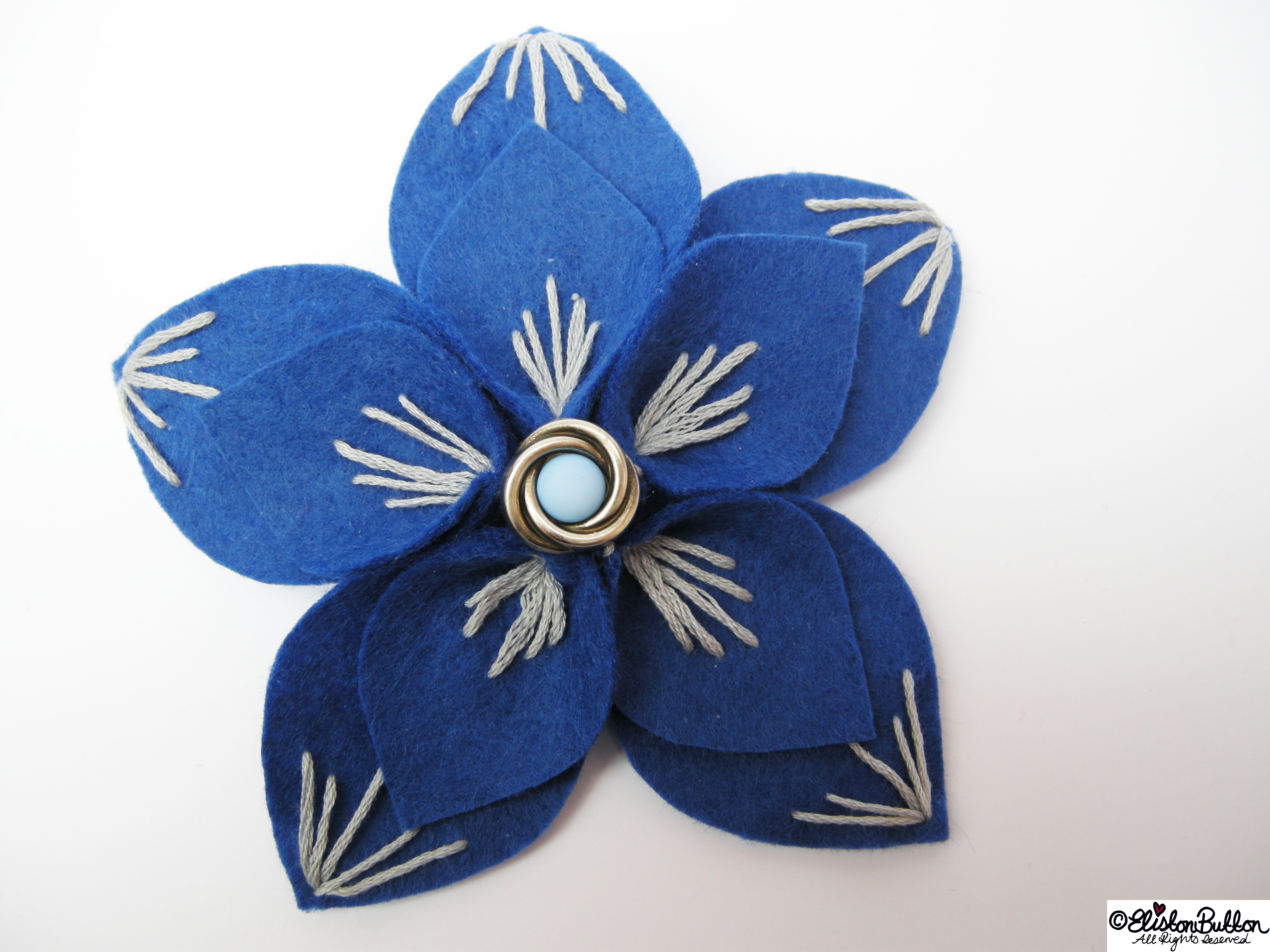 Out of the Blue Embroidered Felt Flower Brooch - 27 Before 27 - Out of the Blue at www.elistonbutton.com - Eliston Button - That Crafty Kid – Art, Design, Craft & Adventure.