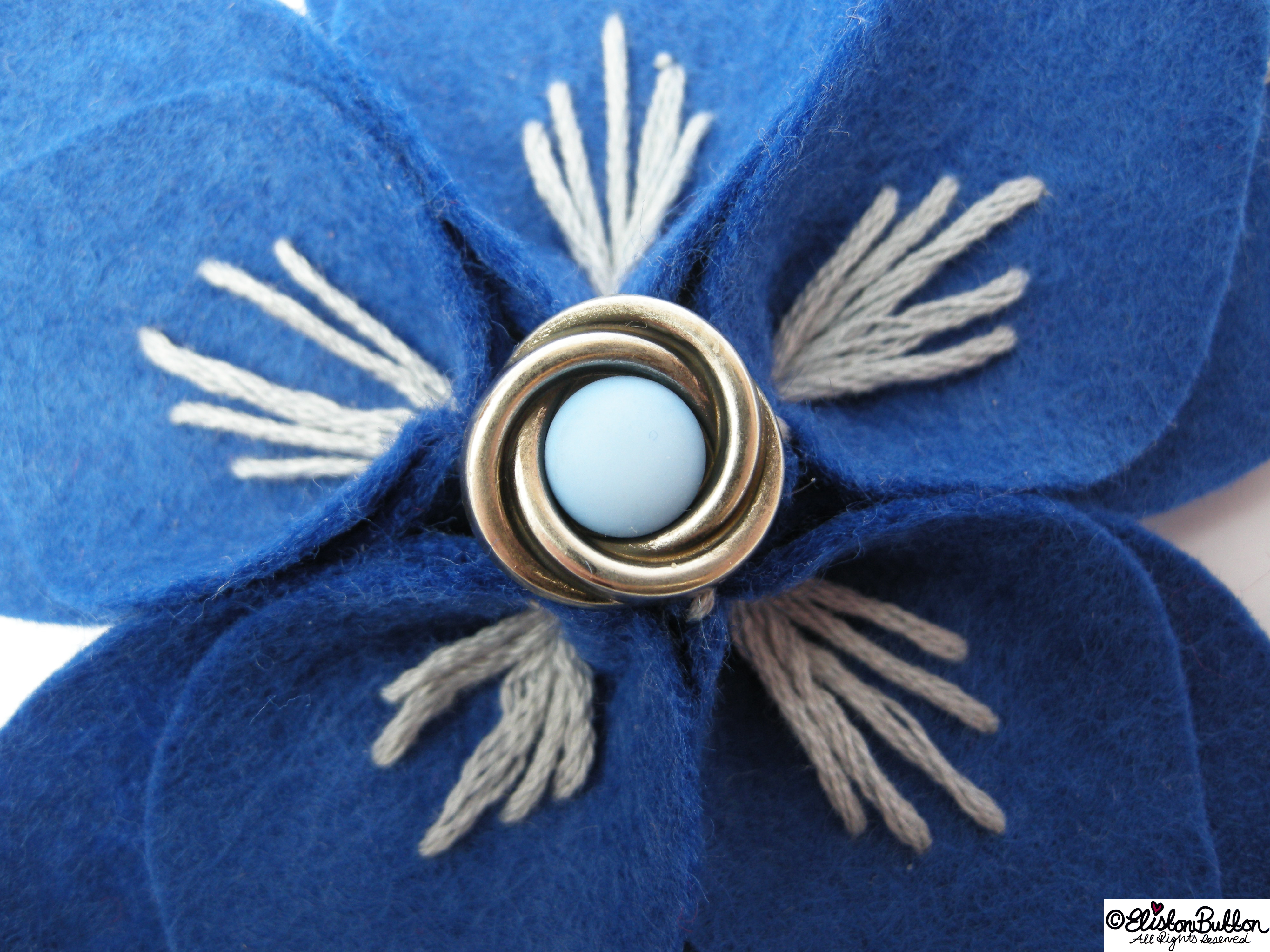 Out of the Blue Embroidered Felt Flower Brooch - Close Up - 27 Before 27 - Out of the Blue at www.elistonbutton.com - Eliston Button - That Crafty Kid – Art, Design, Craft & Adventure.