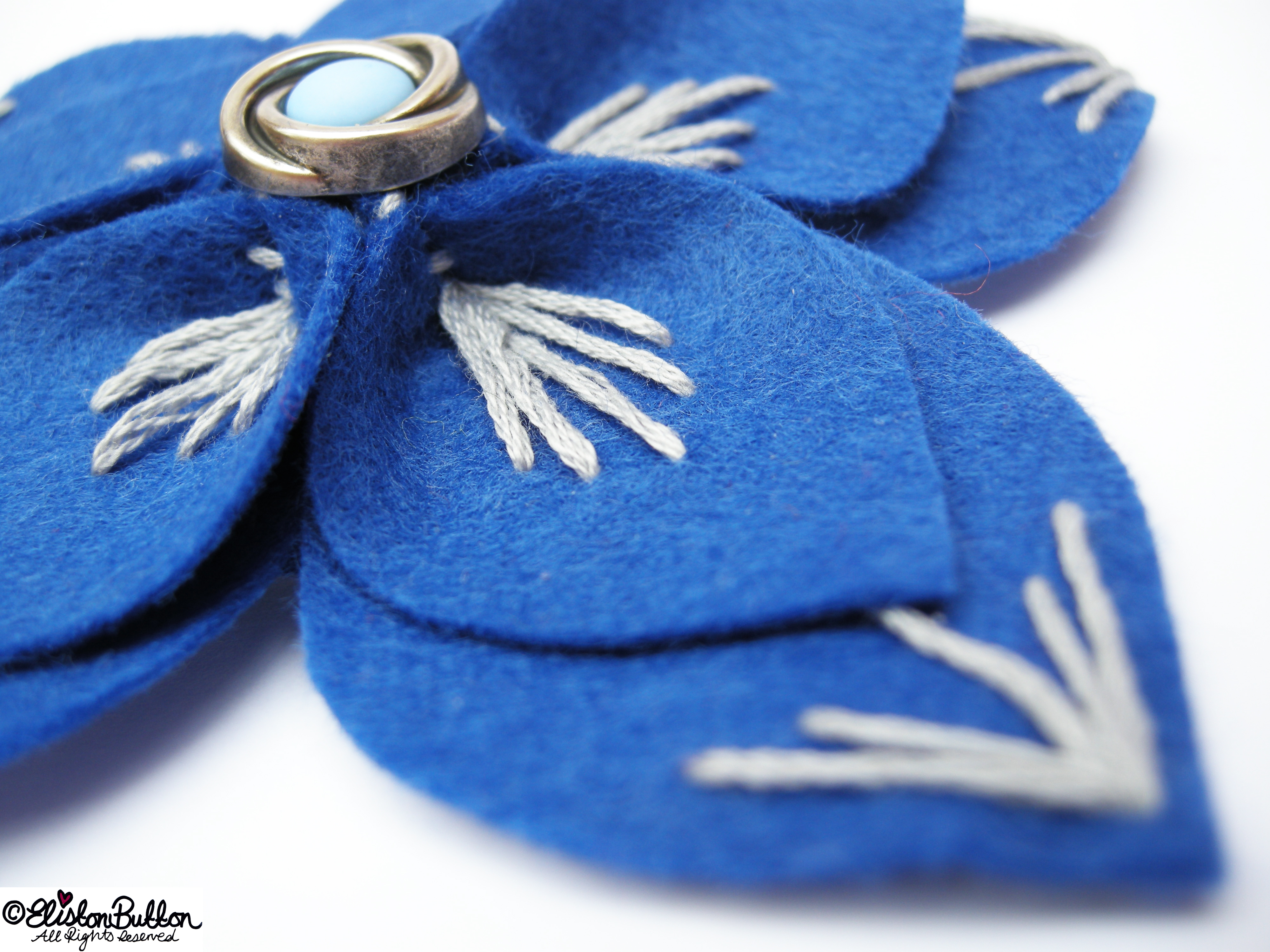 Out of the Blue Embroidered Felt Flower Brooch - Embroidery Detail - 27 Before 27 - Out of the Blue at www.elistonbutton.com - Eliston Button - That Crafty Kid – Art, Design, Craft & Adventure.
