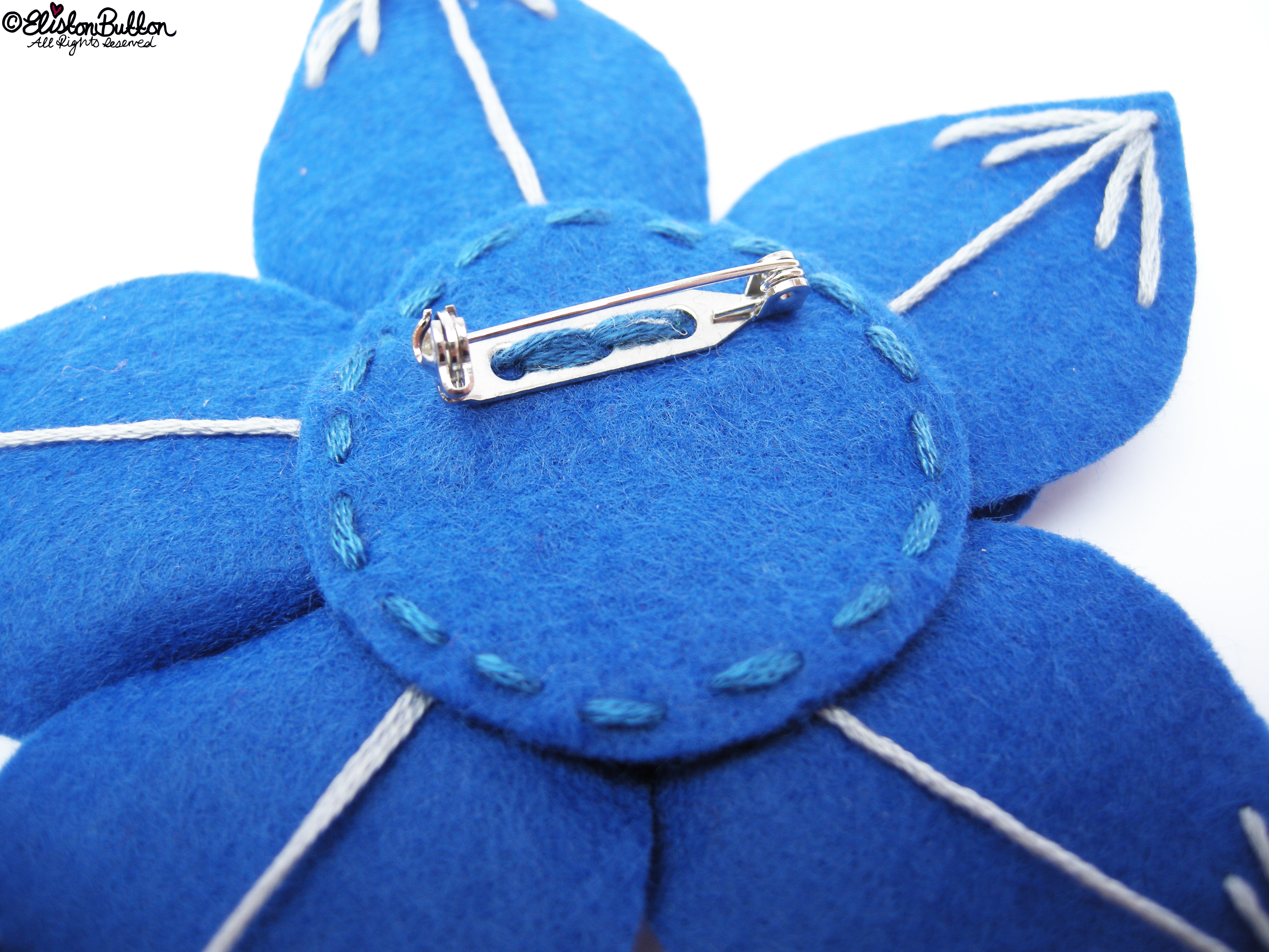 Out of the Blue Embroidered Felt Flower Brooch - Back View - 27 Before 27 - Out of the Blue at www.elistonbutton.com - Eliston Button - That Crafty Kid – Art, Design, Craft & Adventure.