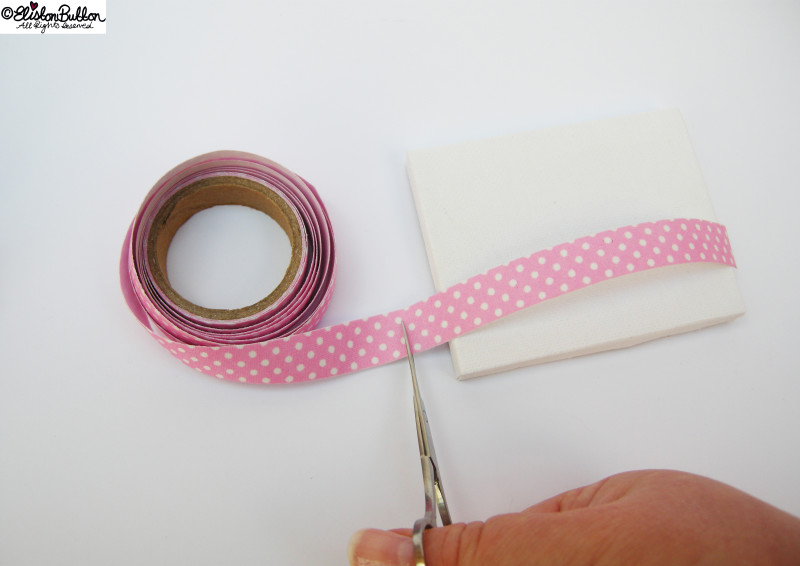 Cutting the Fabric Tape to Size - Mini Easel Tutorial at www.elistonbutton.com - Eliston Button - That Crafty Kid – Art, Design, Craft & Adventure.