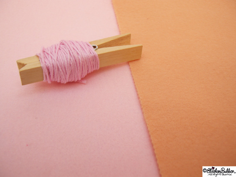Pastel Pink and Peach Orange Felt and Pink Embroidery Thread - 27 Before 27 - Ballet Slipper at www.elistonbutton.com - Eliston Button - That Crafty Kid – Art, Design, Craft & Adventure.