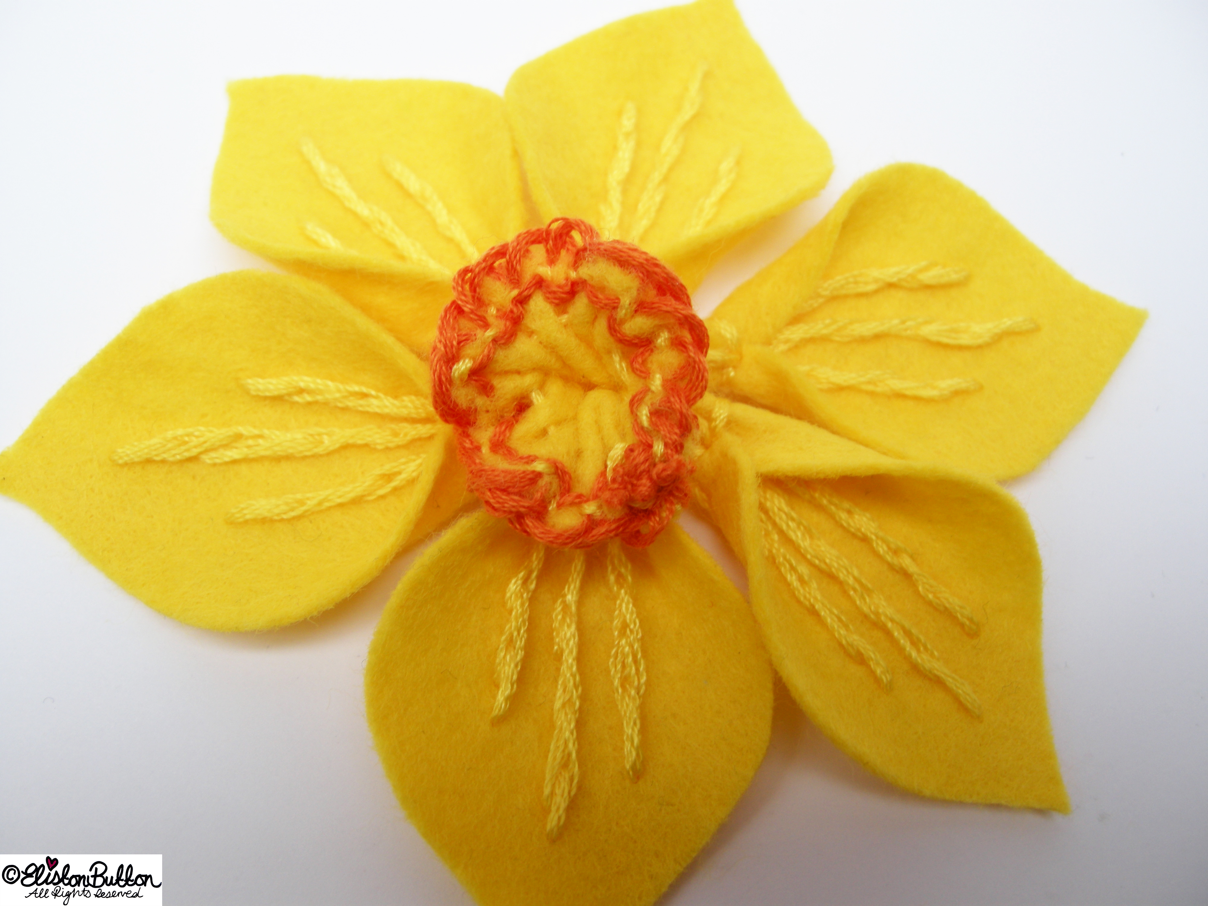 Spring Embroidered Felt Daffodil Flower Brooch - Adding the Centrepiece - 27 Before 27 – Spring at www.elistonbutton.com - Eliston Button - That Crafty Kid – Art, Design, Craft & Adventure.