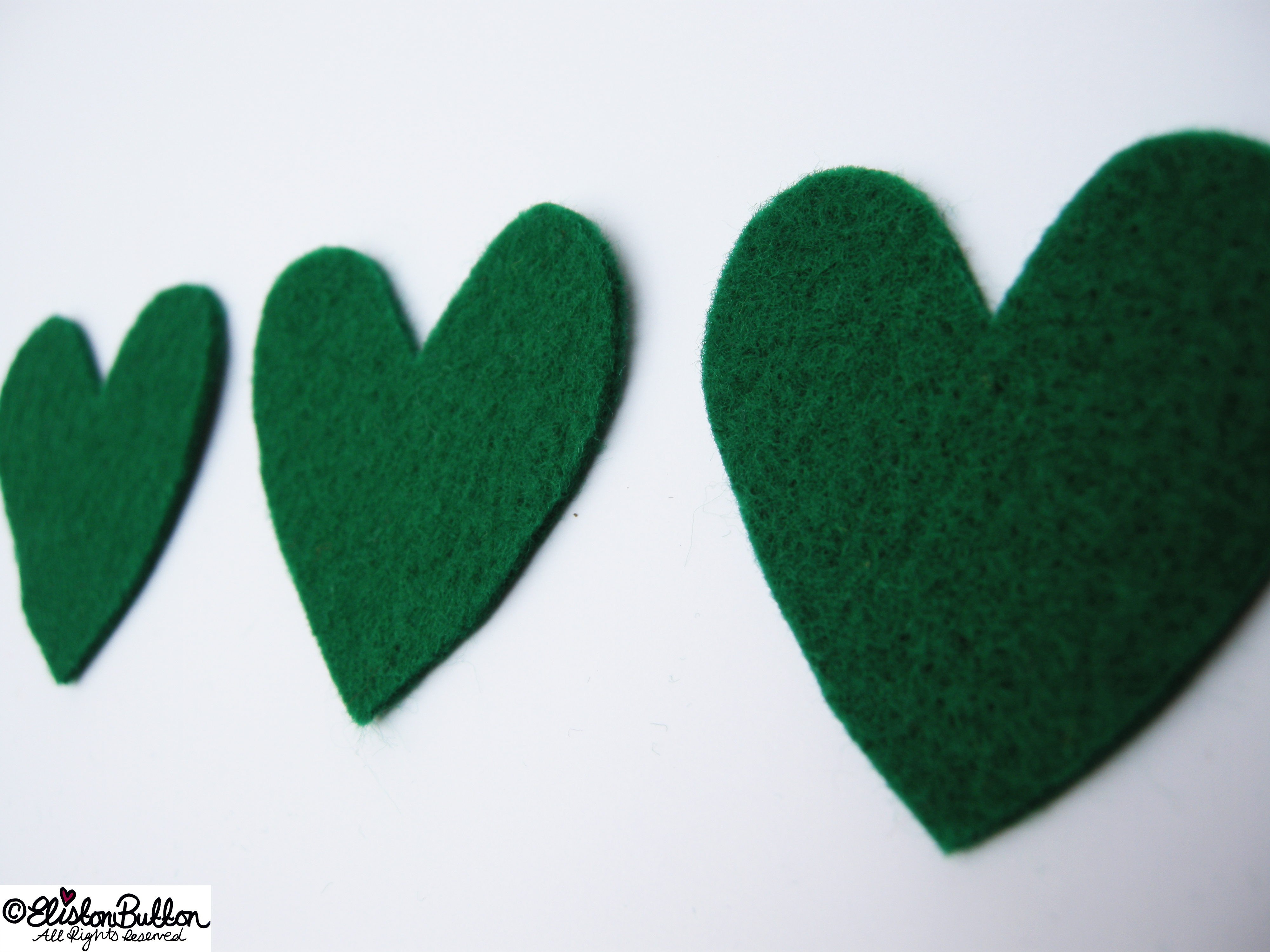 Green Felt Heart Shape Cut Outs - 27 Before 27 – Lucky at www.elistonbutton.com - Eliston Button - That Crafty Kid – Art, Design, Craft & Adventure.