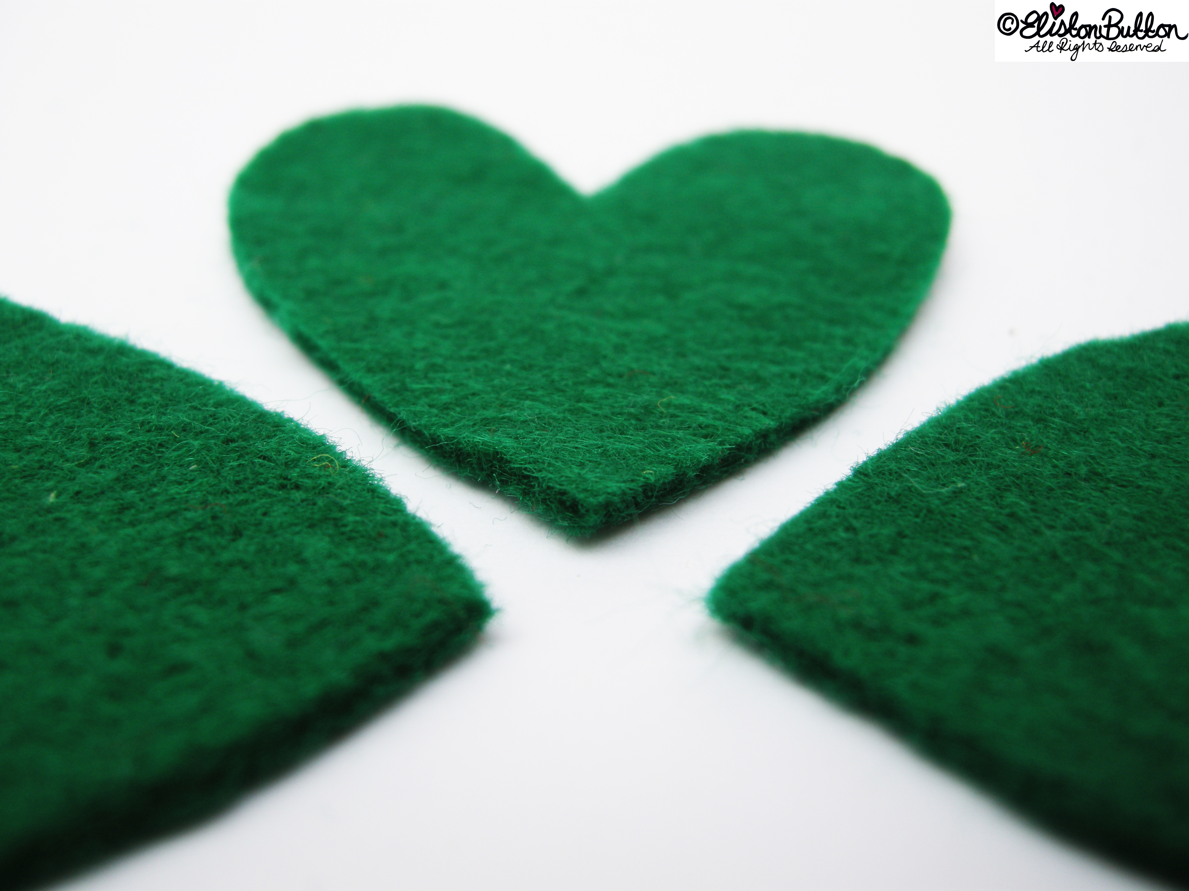 Emerald Green Felt Hearts - 27 Before 27 – Lucky at www.elistonbutton.com - Eliston Button - That Crafty Kid – Art, Design, Craft & Adventure.