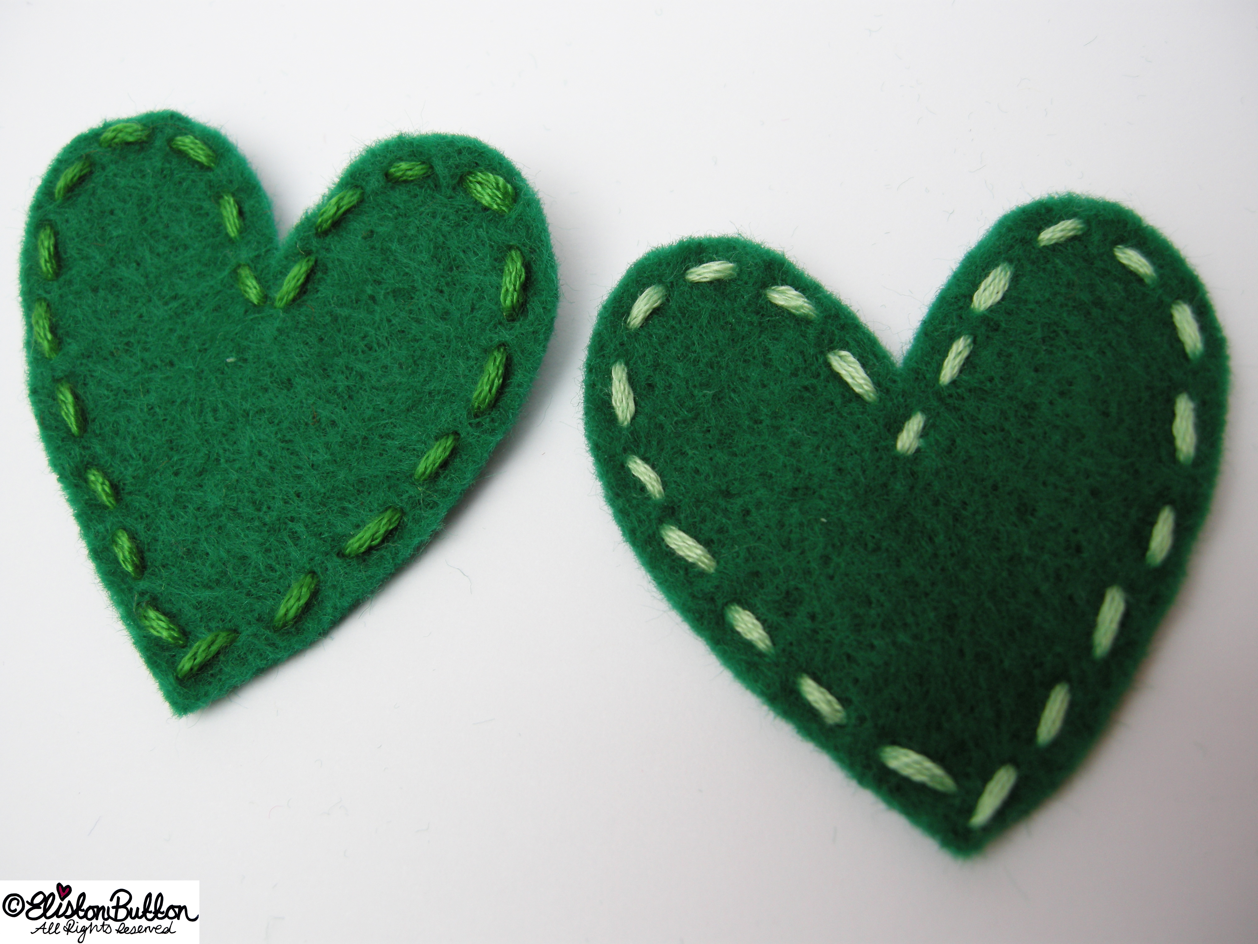 Hand Stitched Green Heart Shapes - 27 Before 27 – Lucky at www.elistonbutton.com - Eliston Button - That Crafty Kid – Art, Design, Craft & Adventure.