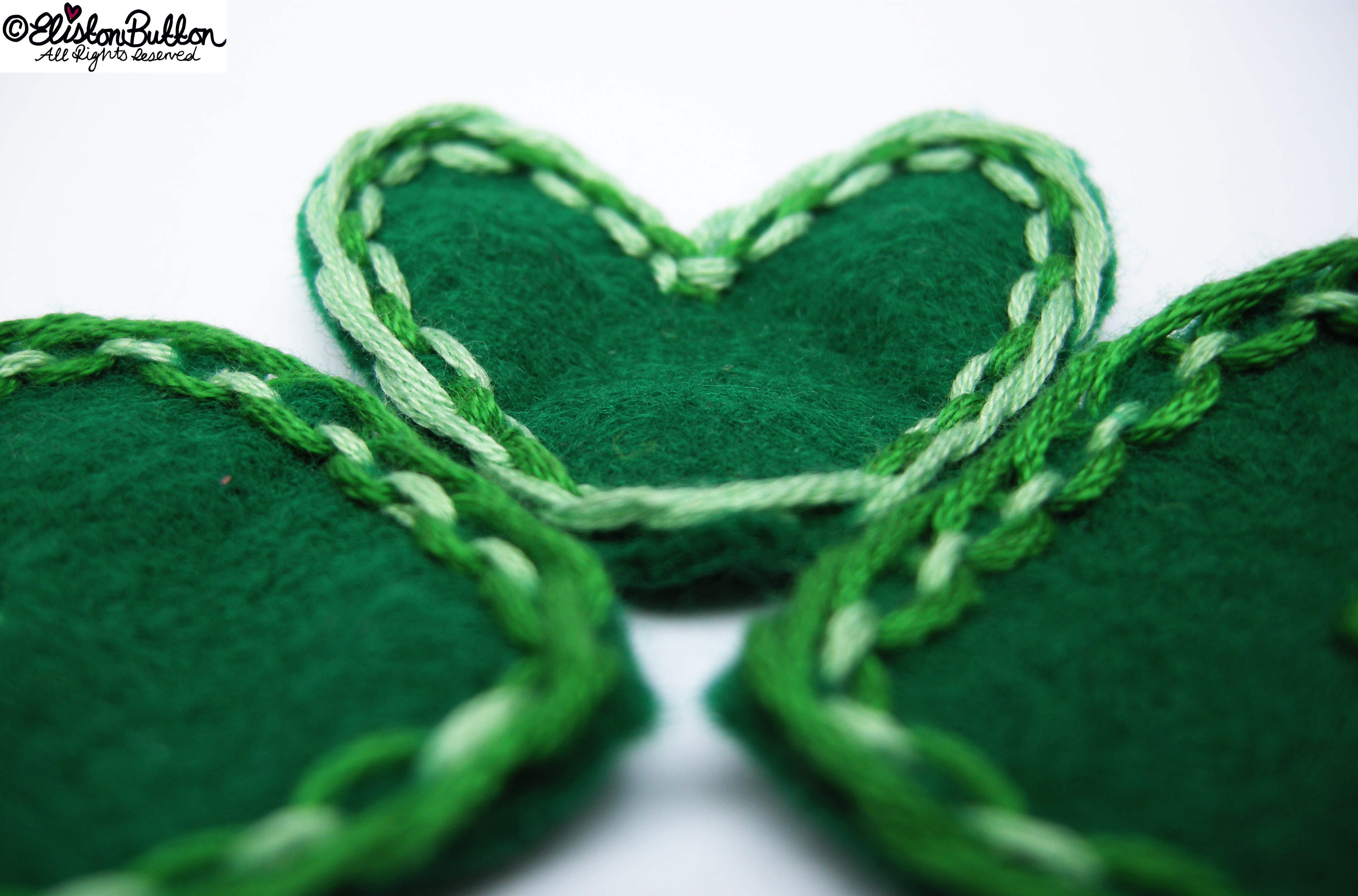 Hand Stitched Green Heart Shapes - Lace-Like Stitch Close Up - 27 Before 27 – Lucky at www.elistonbutton.com - Eliston Button - That Crafty Kid – Art, Design, Craft & Adventure.