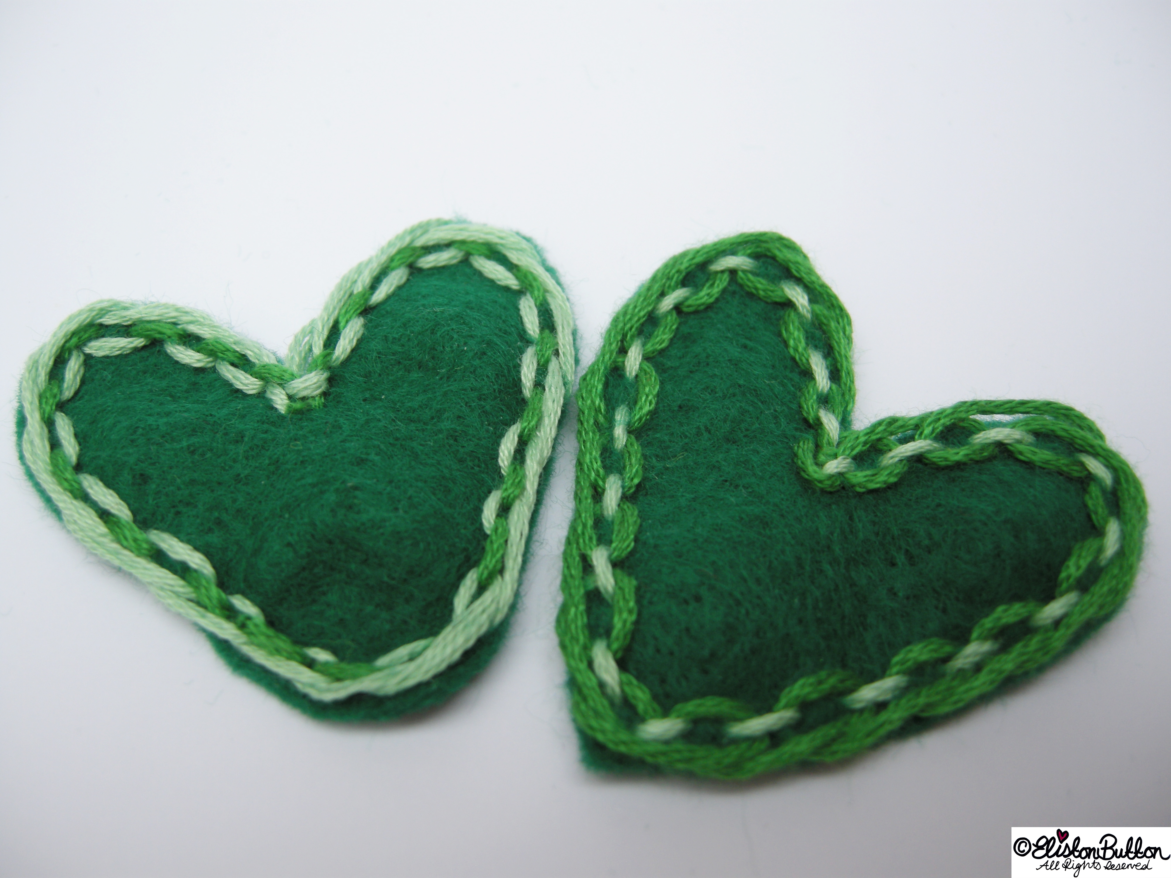 Hand Stitched Green Heart Shapes Together - 27 Before 27 – Lucky at www.elistonbutton.com - Eliston Button - That Crafty Kid – Art, Design, Craft & Adventure.