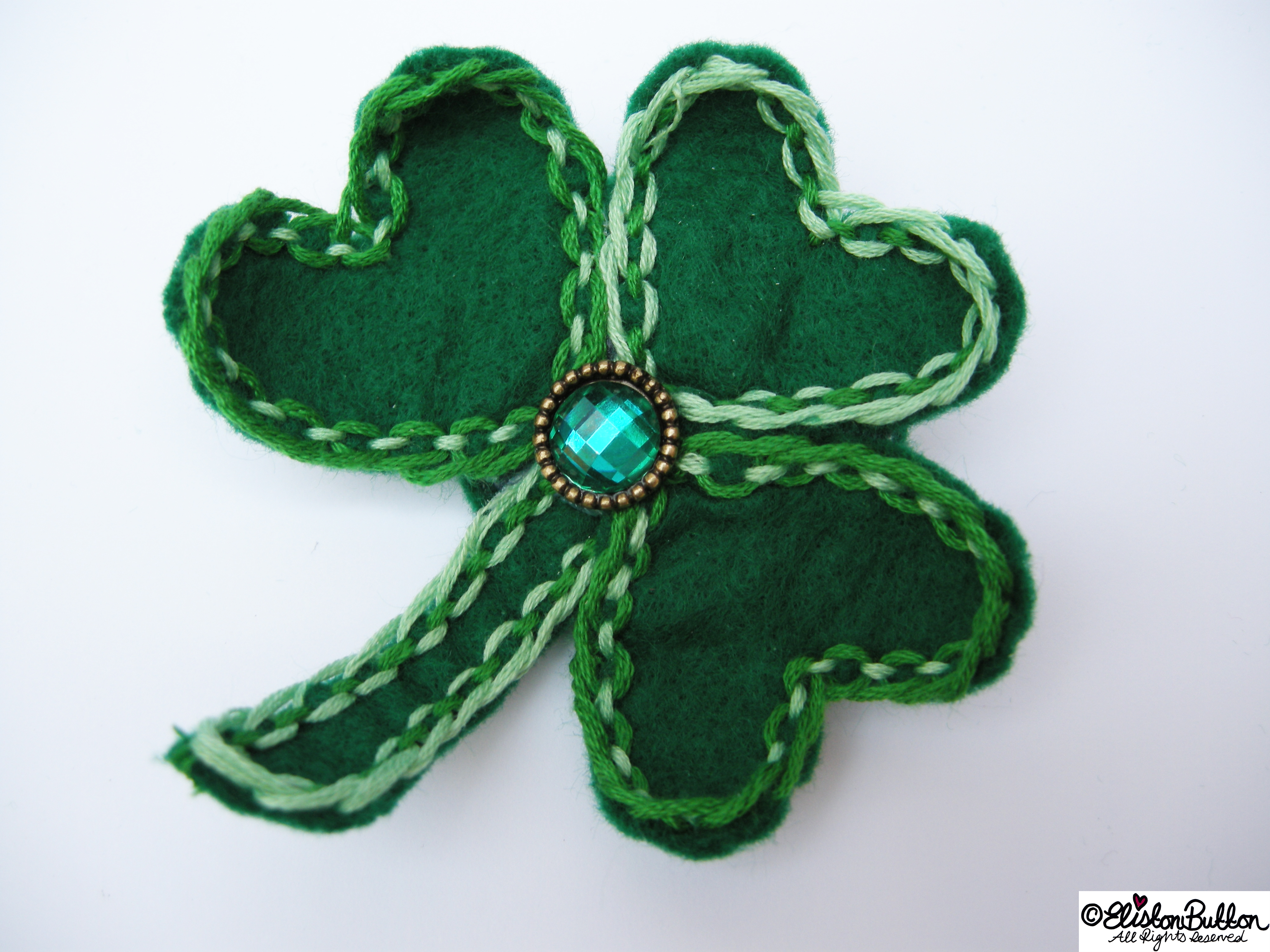 Embroidered Felt Shamrock Clover Shaped Brooch - 27 Before 27 – Lucky at www.elistonbutton.com - Eliston Button - That Crafty Kid – Art, Design, Craft & Adventure.
