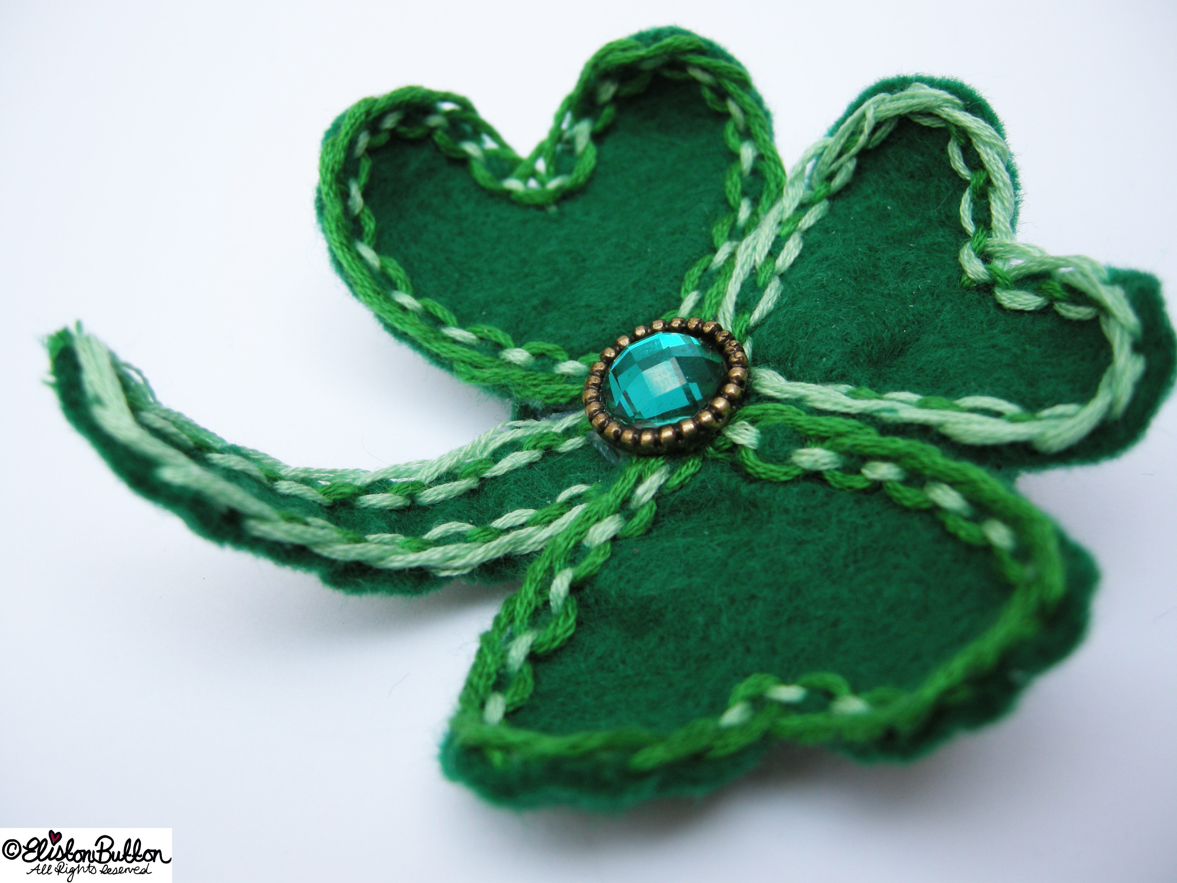 Embroidered Felt Shamrock Clover Shaped Brooch - Lucky Clover - 27 Before 27 – Lucky at www.elistonbutton.com - Eliston Button - That Crafty Kid – Art, Design, Craft & Adventure.