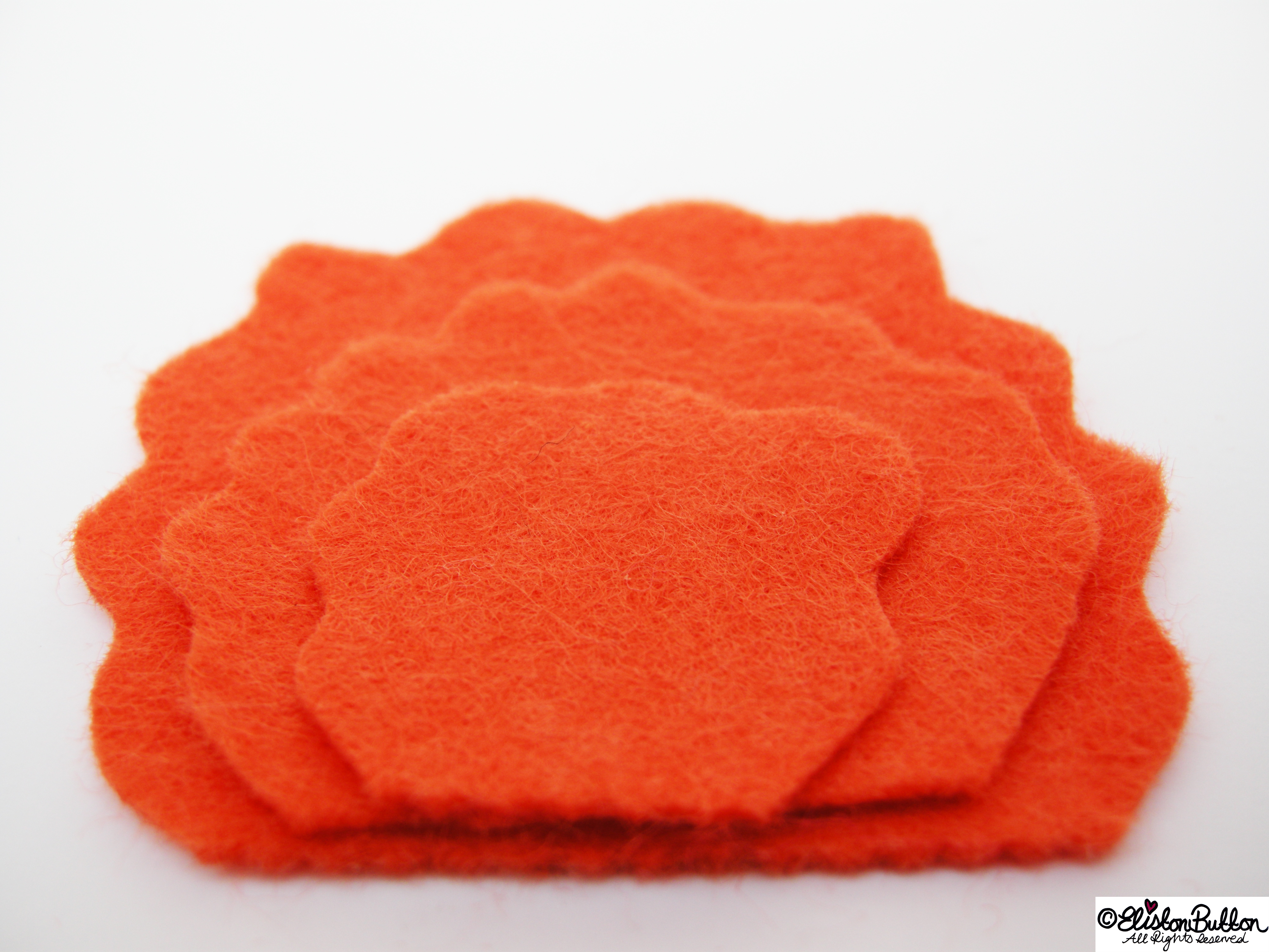 Scallop Shaped Felt Petals all in a Stack - 27 before 27 - Tangerine at www.elistonbutton.com - Eliston Button - That Crafty Kid – Art, Design, Craft & Adventure.