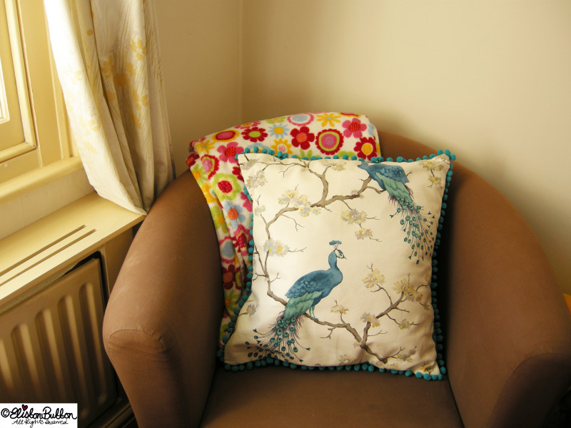 A Completed Peacokc Fabric Cushion Cover - Hillarys Blinds Country Crafts Competition at www.elistonbutton.com - Eliston Button - That Crafty Kid – Art, Design, Craft & Adventure.