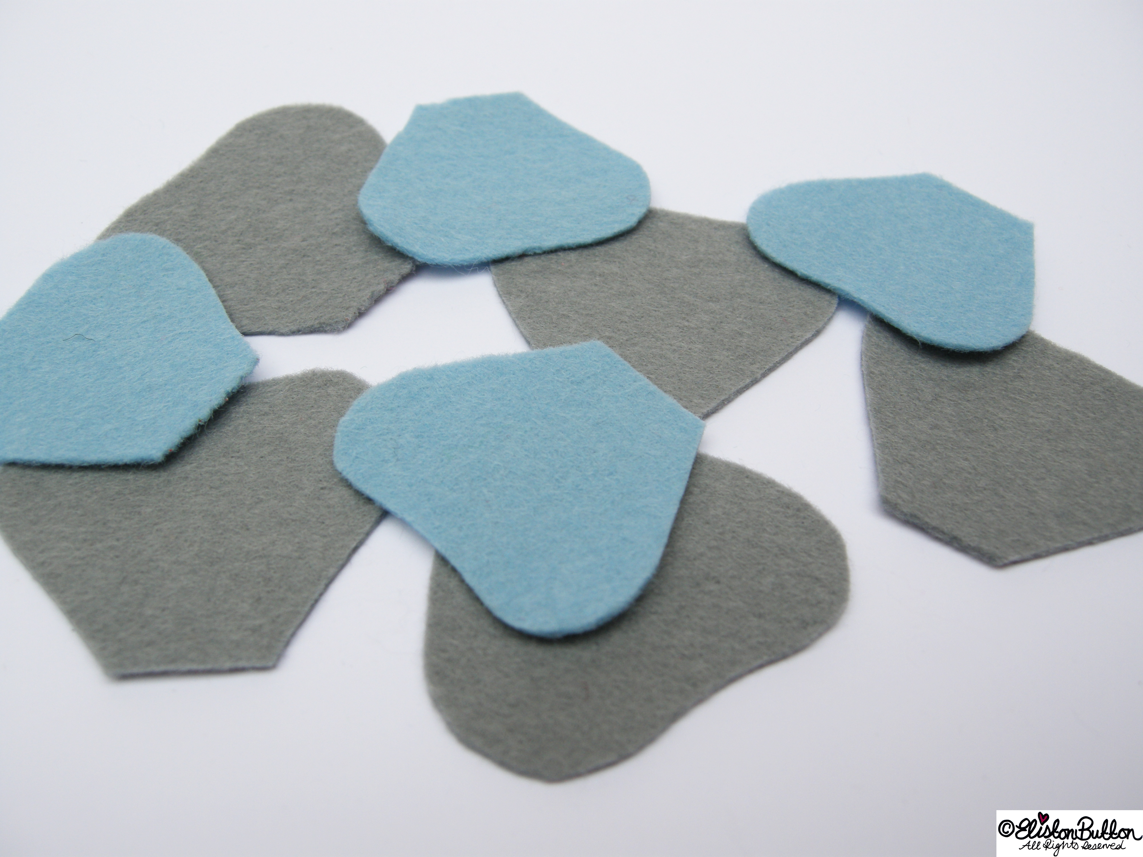 Pastel Blue and Grey Felt Petal Shapes - 27 Before 27 – Aquamarine at www.elistonbutton.com - Eliston Button - That Crafty Kid – Art, Design, Craft & Adventure.
