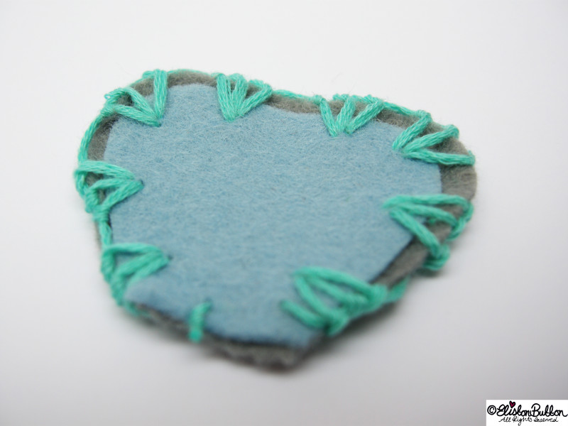 Pastel Blue and Grey Felt Petal Shapes Embroidered with Turquoise Embroidery Thread - 27 Before 27 – Aquamarine at www.elistonbutton.com - Eliston Button - That Crafty Kid – Art, Design, Craft & Adventure.