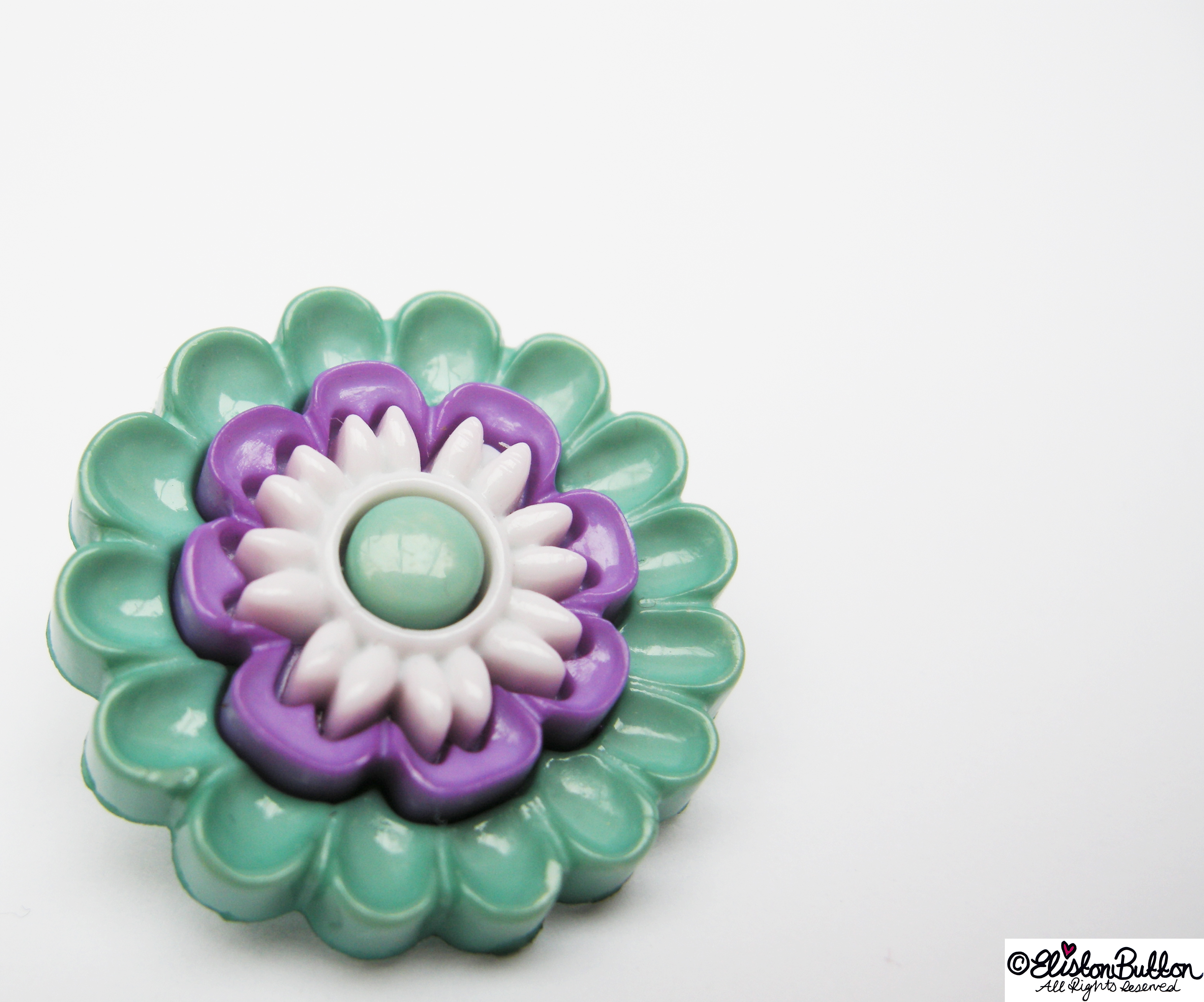 Turquoise, Purple and White Flower Button Centrepiece - 27 Before 27 – Aquamarine at www.elistonbutton.com - Eliston Button - That Crafty Kid – Art, Design, Craft & Adventure.