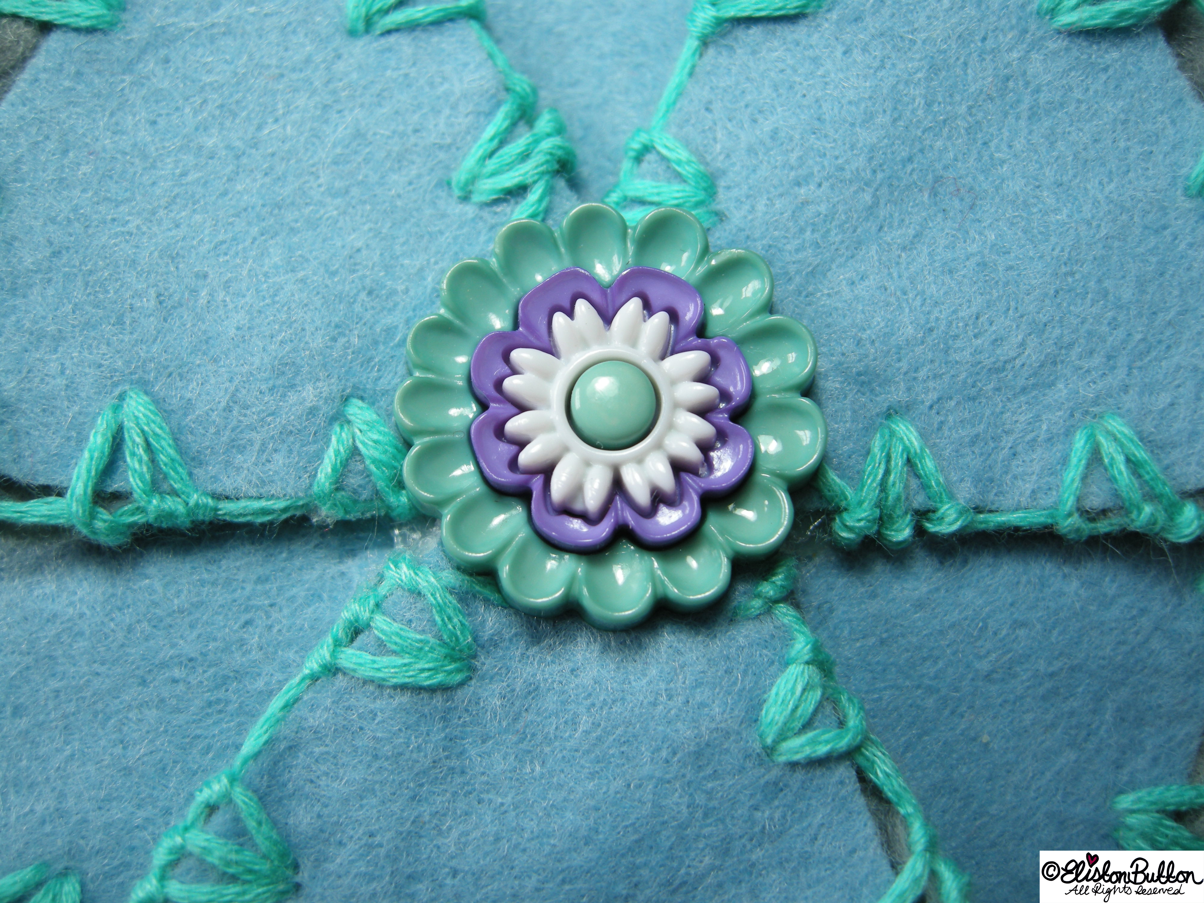Aquamarine Turquoise, Pastel Blue and Grey Embroidered Felt Flower Brooch - Centrepiece Detail - 27 Before 27 – Aquamarine at www.elistonbutton.com - Eliston Button - That Crafty Kid – Art, Design, Craft & Adventure.