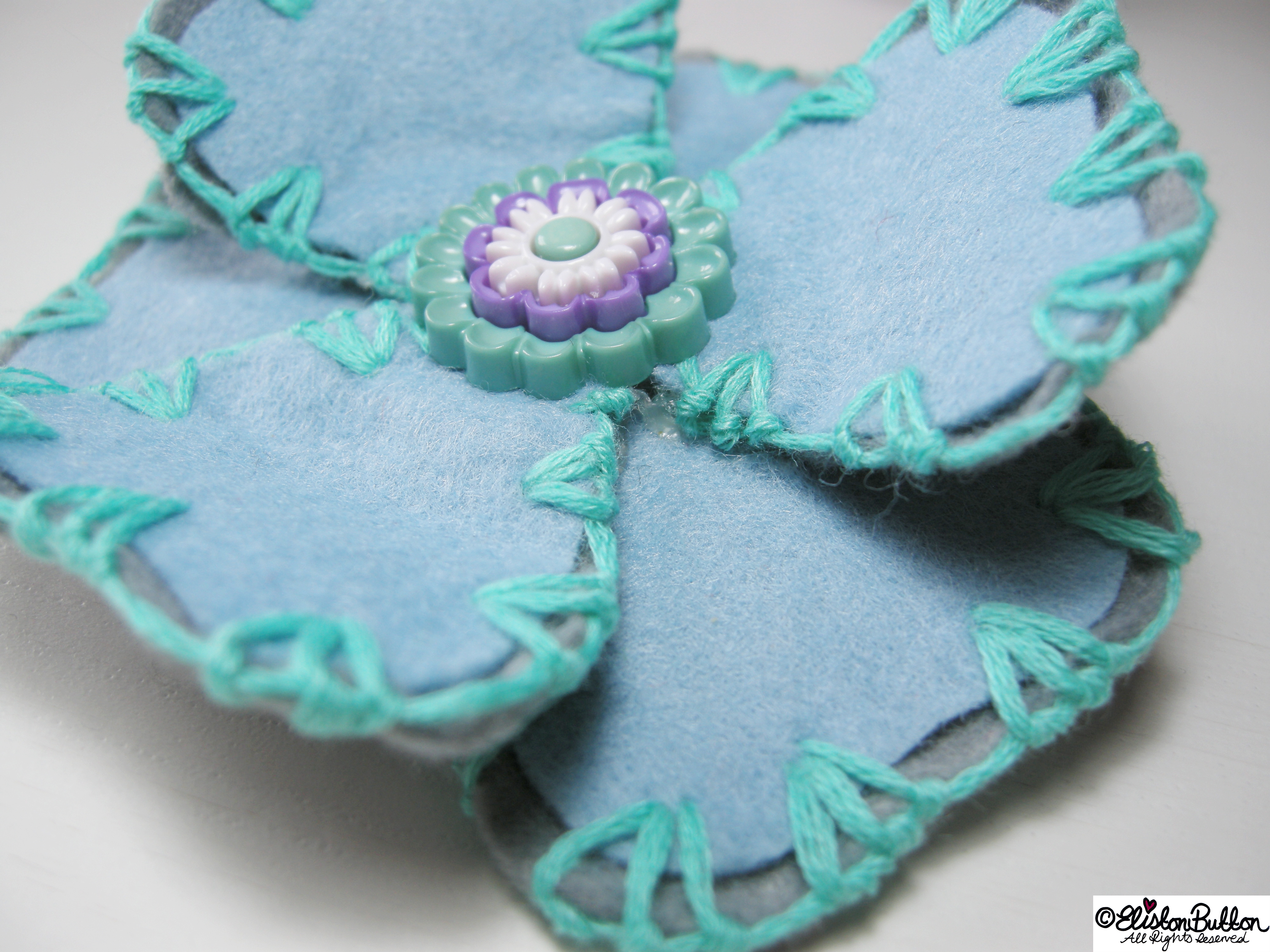 Aquamarine Turquoise, Pastel Blue and Grey Embroidered Felt Flower Brooch - Close Up Detail - 27 Before 27 – Aquamarine at www.elistonbutton.com - Eliston Button - That Crafty Kid – Art, Design, Craft & Adventure.