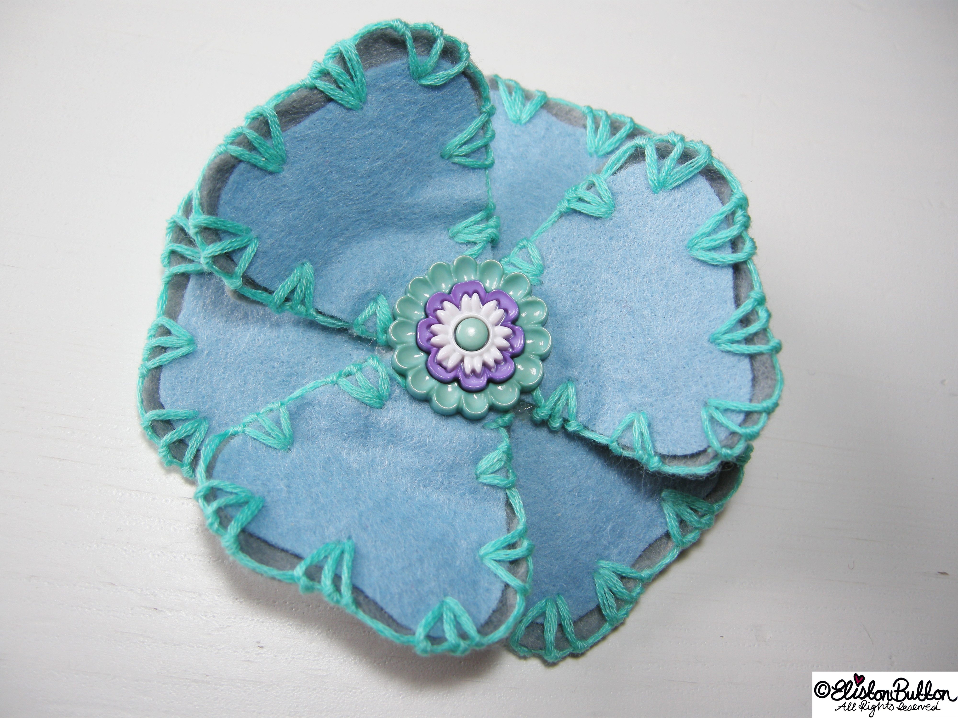 Aquamarine Turquoise, Pastel Blue and Grey Embroidered Felt Flower Brooch - 27 Before 27 – Aquamarine at www.elistonbutton.com - Eliston Button - That Crafty Kid – Art, Design, Craft & Adventure.