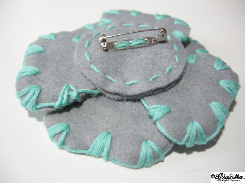 Aquamarine Turquoise and Grey Embroidered Felt Flower Brooch - Back Detail - 27 Before 27 – Aquamarine at www.elistonbutton.com - Eliston Button - That Crafty Kid – Art, Design, Craft & Adventure.
