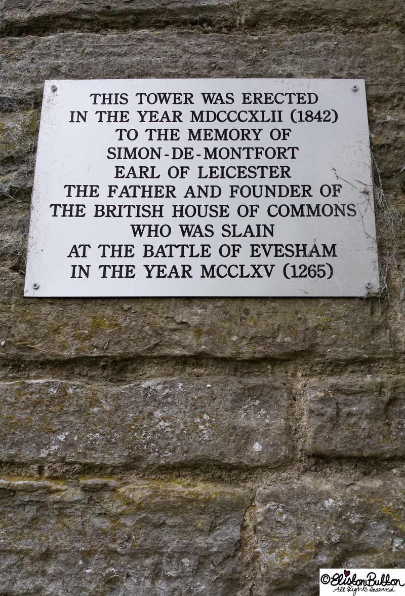 Plaque Outside of Leicester Tower Folly in Evesham, Worcestershire, UK - An Evening Walk in Spring at www.elistonbutton.com - Eliston Button - That Crafty Kid – Art, Design, Craft & Adventure.