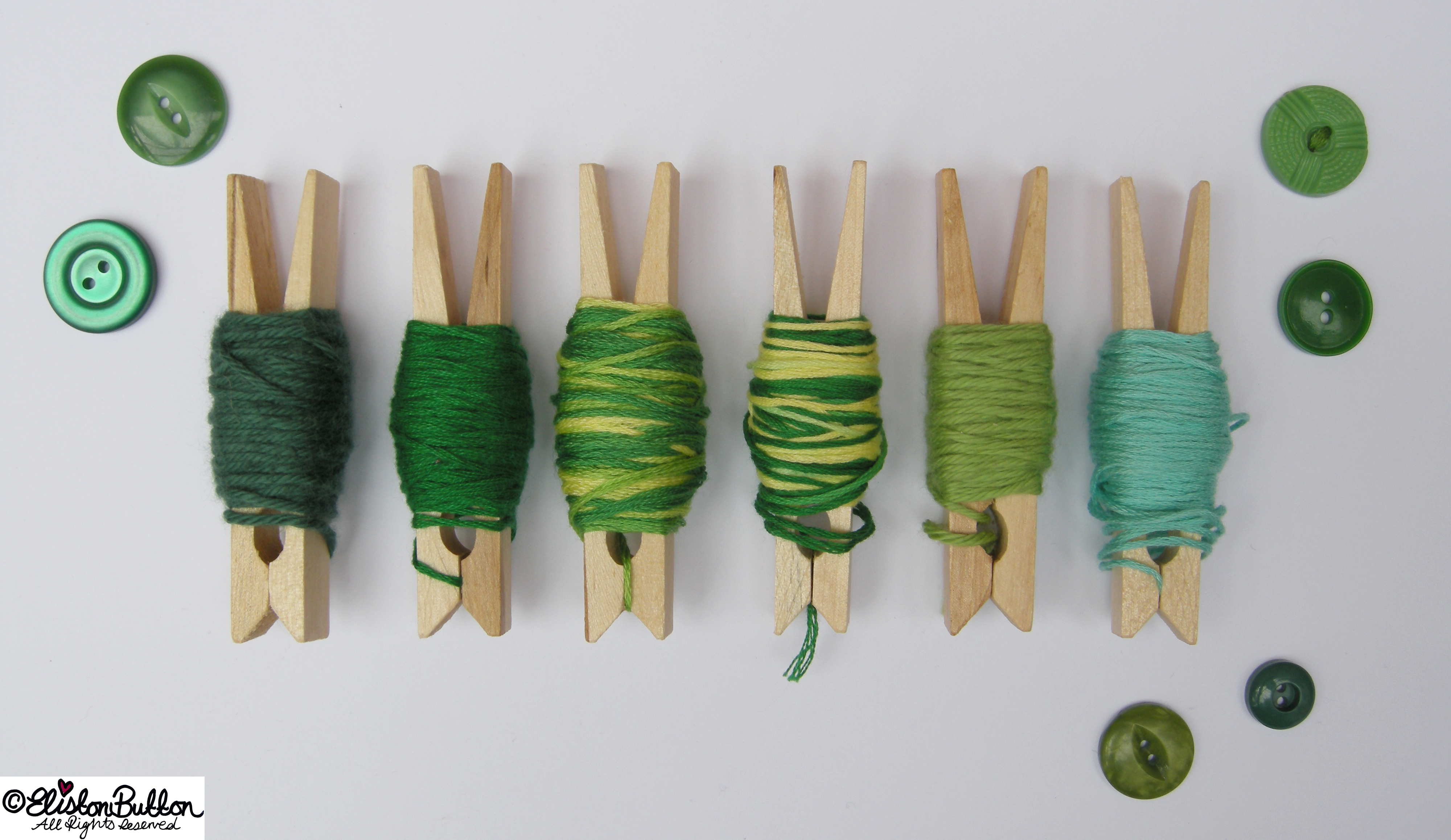 Gorgeous Green Embroidery Thread Colour Palette on Pegs - Embroidery Thread Art at www.elistonbutton.com - Eliston Button - That Crafty Kid – Art, Design, Craft & Adventure.