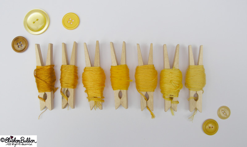 Sunshine Yellow Embroidery Thread Colour Palette on Pegs - Embroidery Thread Art at www.elistonbutton.com - Eliston Button - That Crafty Kid – Art, Design, Craft & Adventure.
