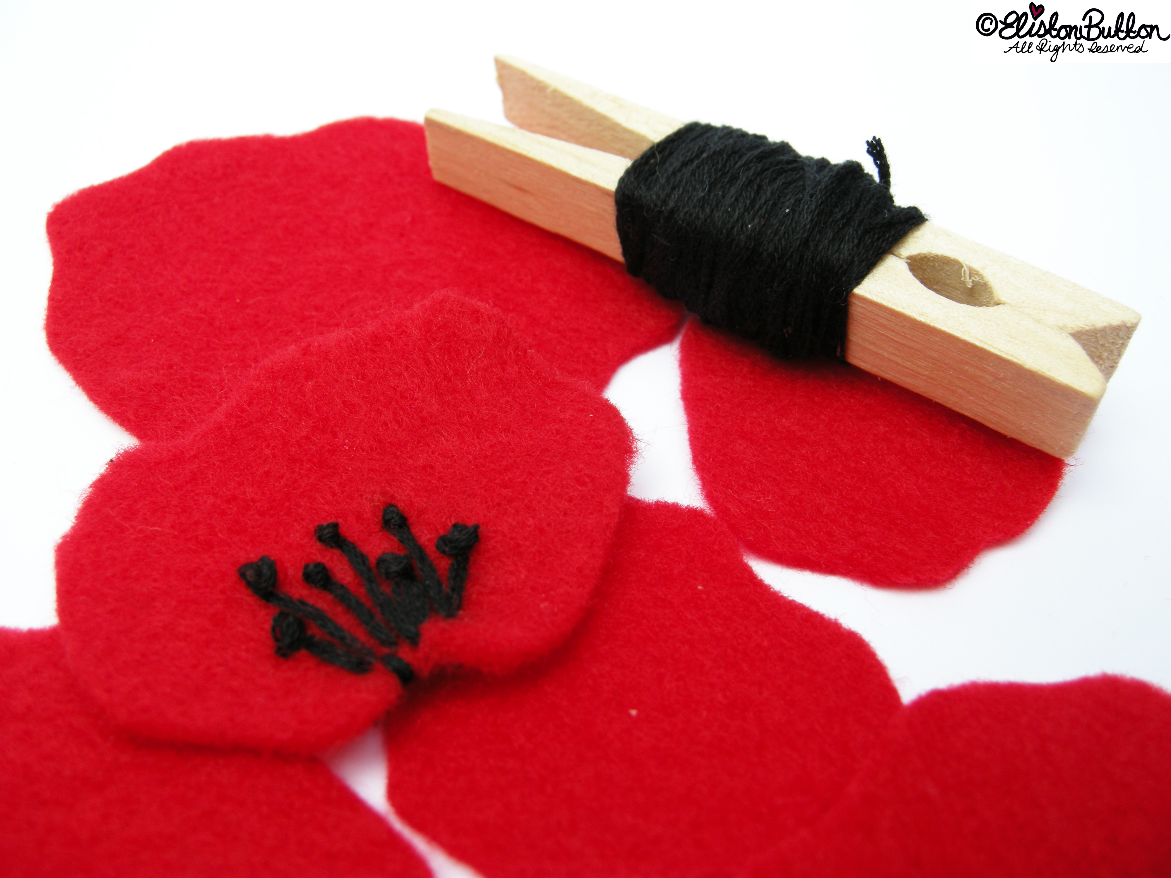 Straight Stitches and French Knots Forming the Centre of the Poppy Petal - 27 Before 27 – Poppy at www.elistonbutton.com - Eliston Button - That Crafty Kid – Art, Design, Craft & Adventure.