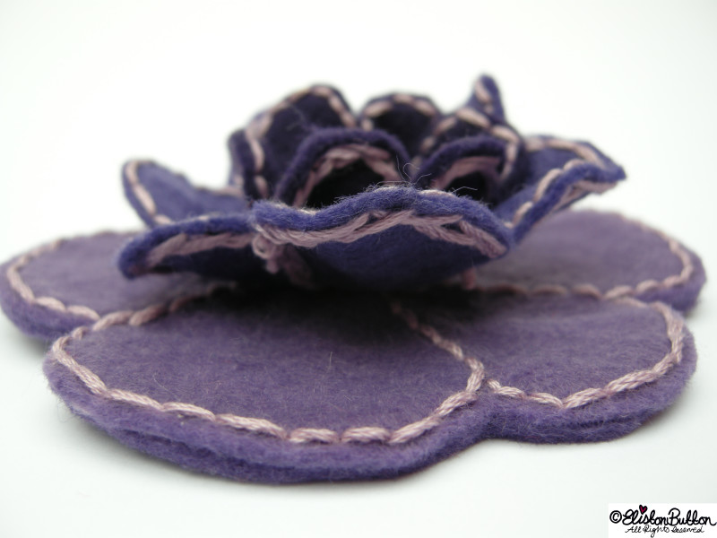 Amethyst Purple Shades Embroidered Felt Flower Brooch - Dimension View - 27 Before 27 – Amethyst at www.elistonbutton.com - Eliston Button - That Crafty Kid – Art, Design, Craft & Adventure.