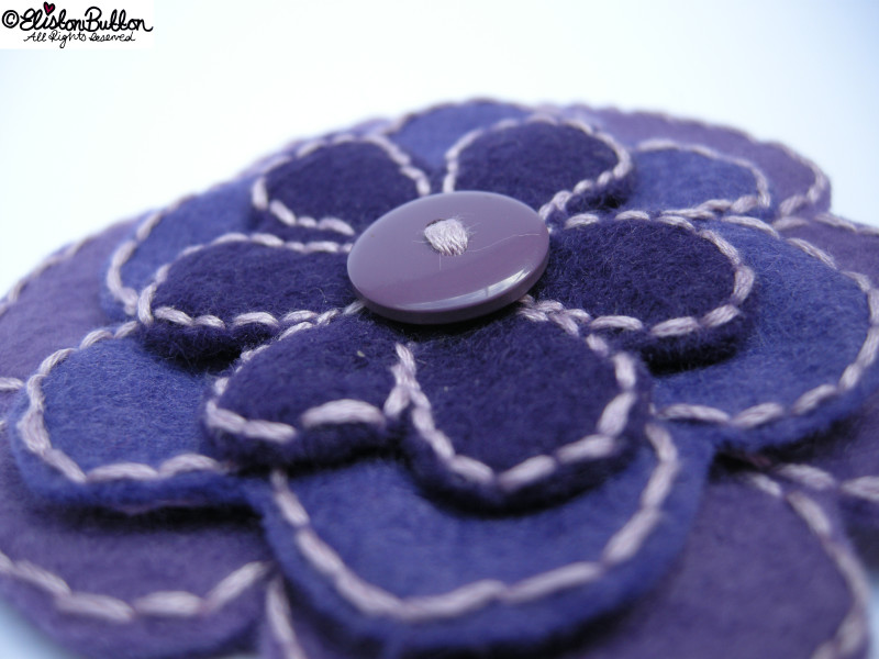 Amethyst Purple Shades Embroidered Felt Flower Brooch Close Up - 27 Before 27 – Amethyst at www.elistonbutton.com - Eliston Button - That Crafty Kid – Art, Design, Craft & Adventure.