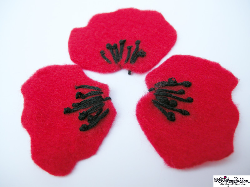 Straight Stitches and French Knots Forming the Centre of the Poppy Petals Together - 27 Before 27 – Poppy at www.elistonbutton.com - Eliston Button - That Crafty Kid – Art, Design, Craft & Adventure.