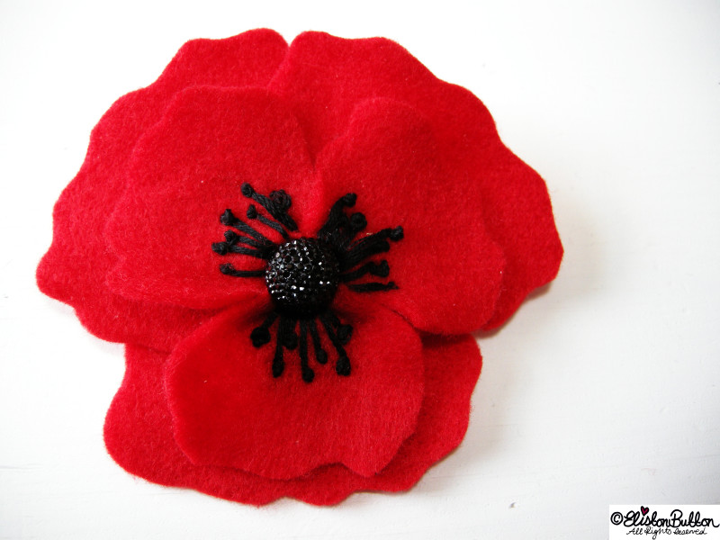 Embroidered Red Felt Poppy Flower Brooch - 27 Before 27 – Poppy at www.elistonbutton.com - Eliston Button - That Crafty Kid – Art, Design, Craft & Adventure.
