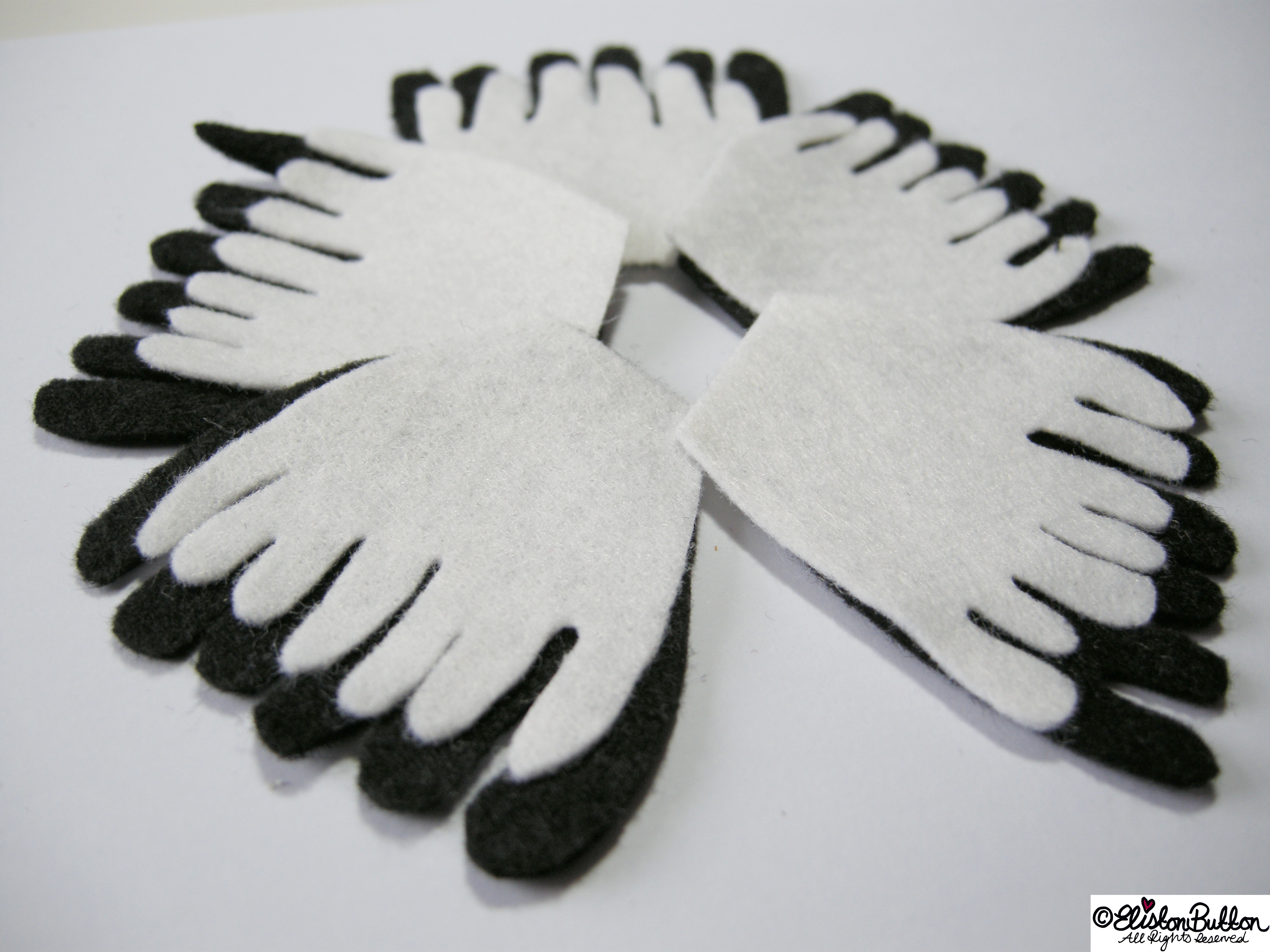 Black and White Felt Hand Cut Petal Shapes in a Flower Shape - 27 Before 27 – Monochrome at www.elistonbutton.com - Eliston Button - That Crafty Kid – Art, Design, Craft & Adventure.