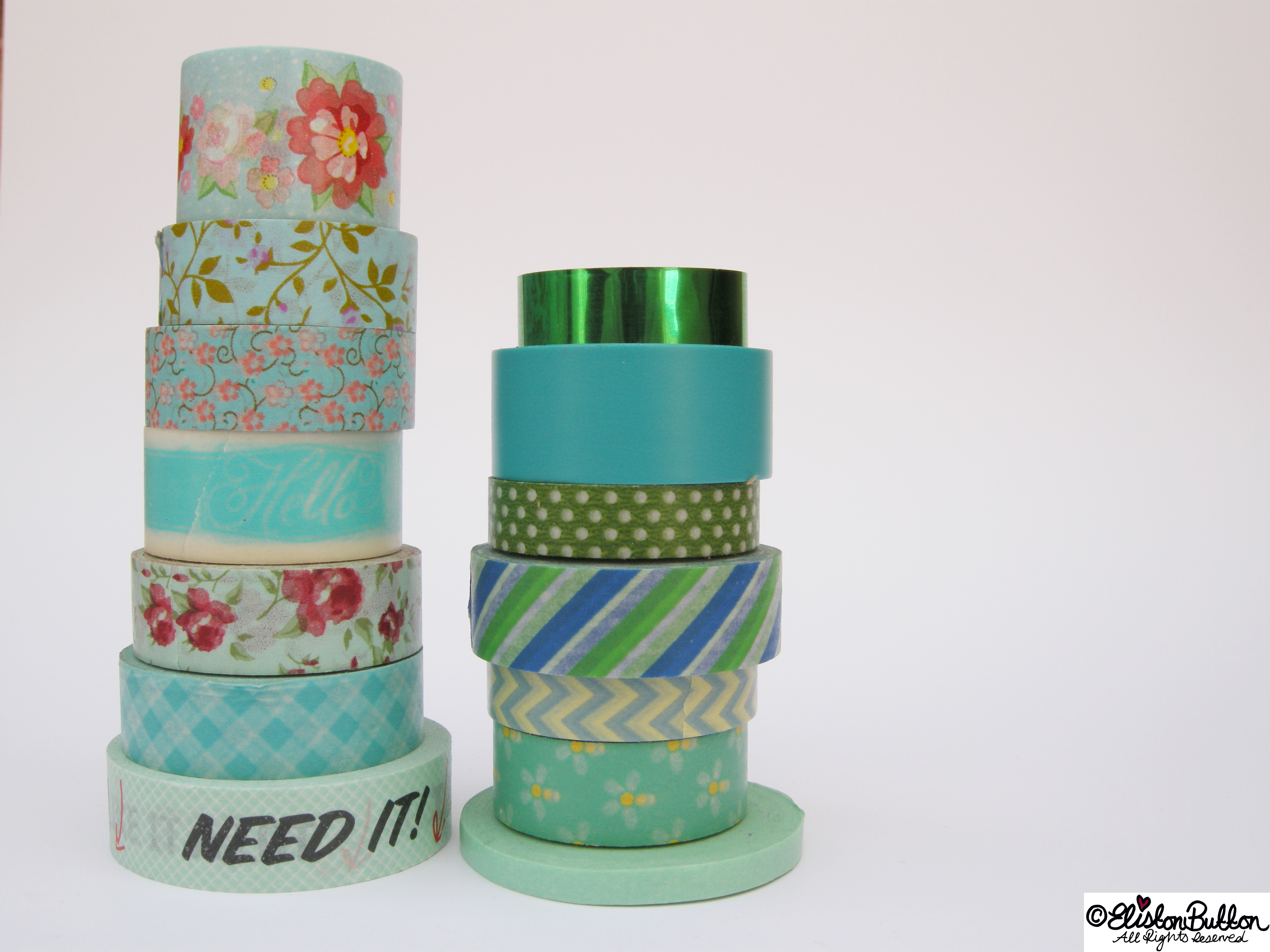 Gorgeous Green Piles of Washi Tape Rolls - My Washi Tape Collection at www.elistonbutton.com - Eliston Button - That Crafty Kid – Art, Design, Craft & Adventure.