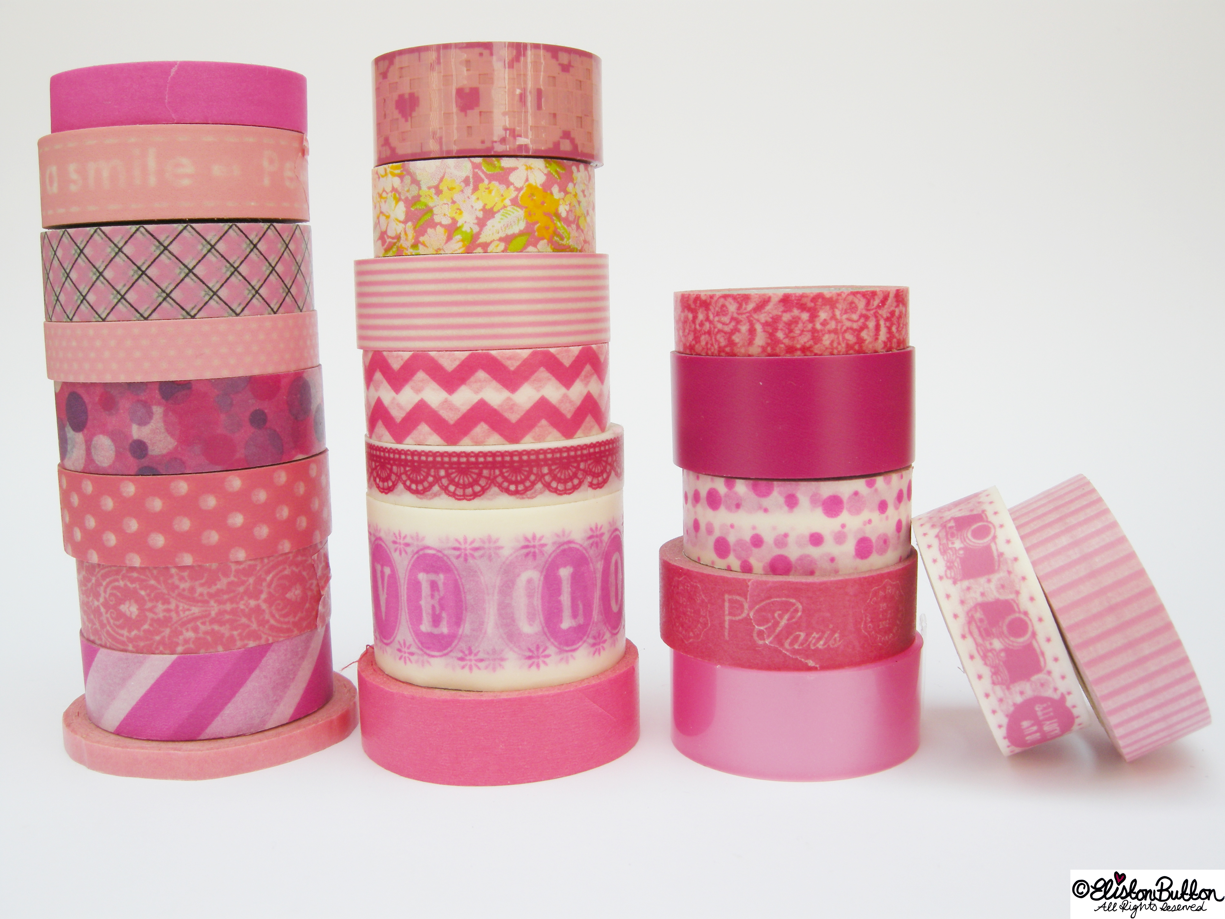 Pretty Pink Piles of Washi Tape Rolls - My Washi Tape Collection at www.elistonbutton.com - Eliston Button - That Crafty Kid – Art, Design, Craft & Adventure.