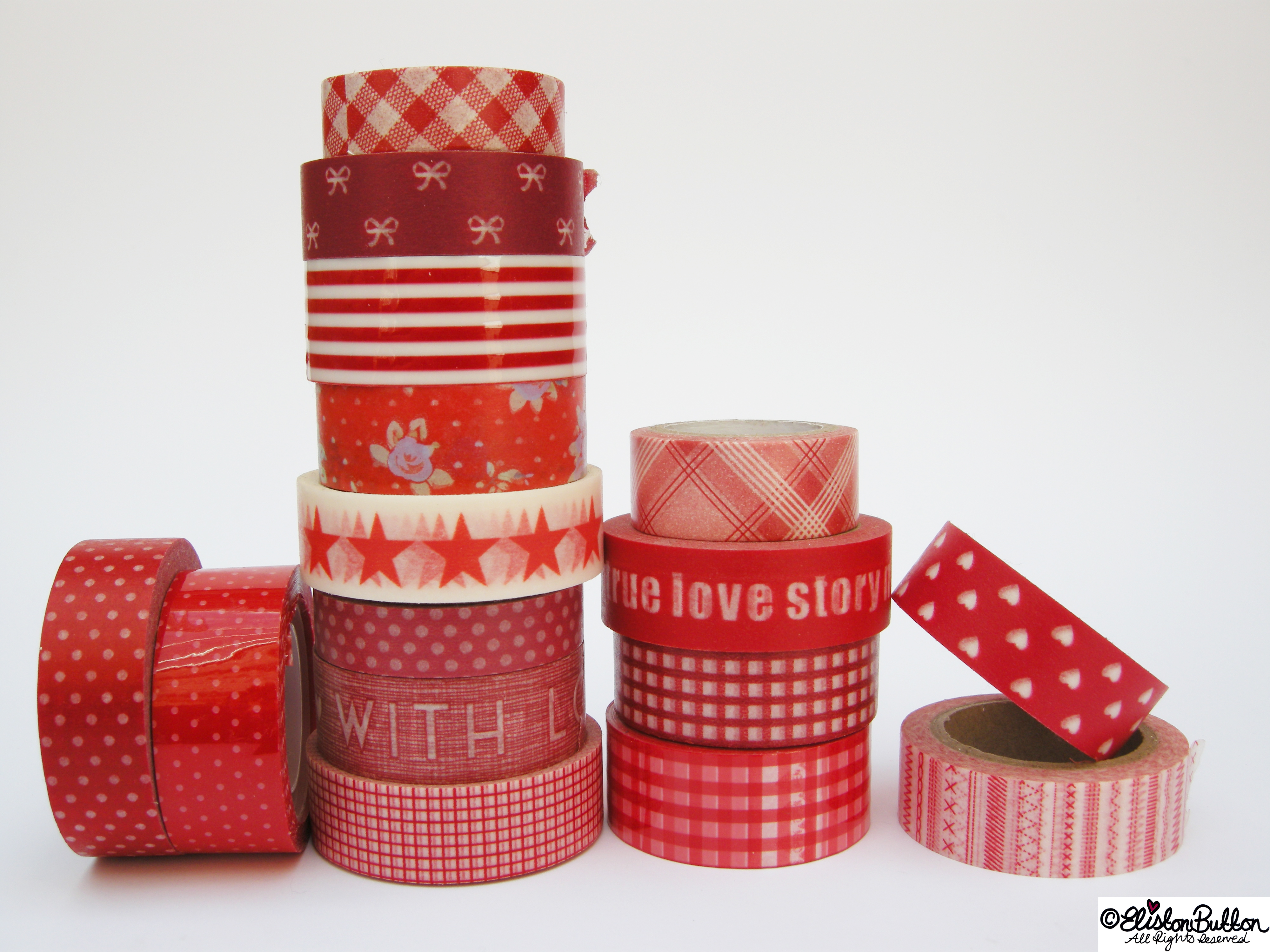 Radiant Rouge Piles of Washi Tape Rolls - My Washi Tape Collection at www.elistonbutton.com - Eliston Button - That Crafty Kid – Art, Design, Craft & Adventure.