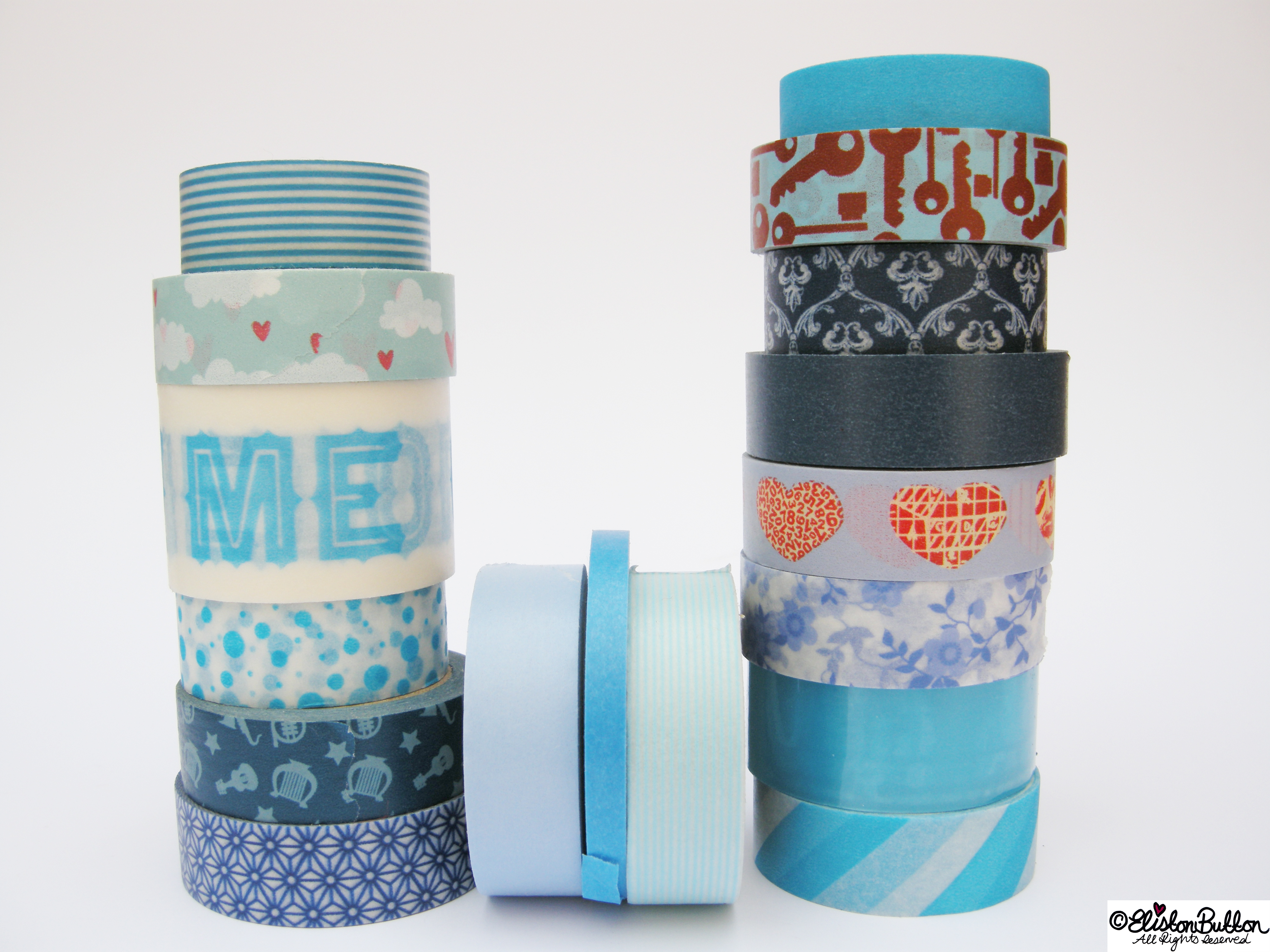 Beautiful Blues Piles of Washi Tape Rolls - My Washi Tape Collection at www.elistonbutton.com - Eliston Button - That Crafty Kid – Art, Design, Craft & Adventure.