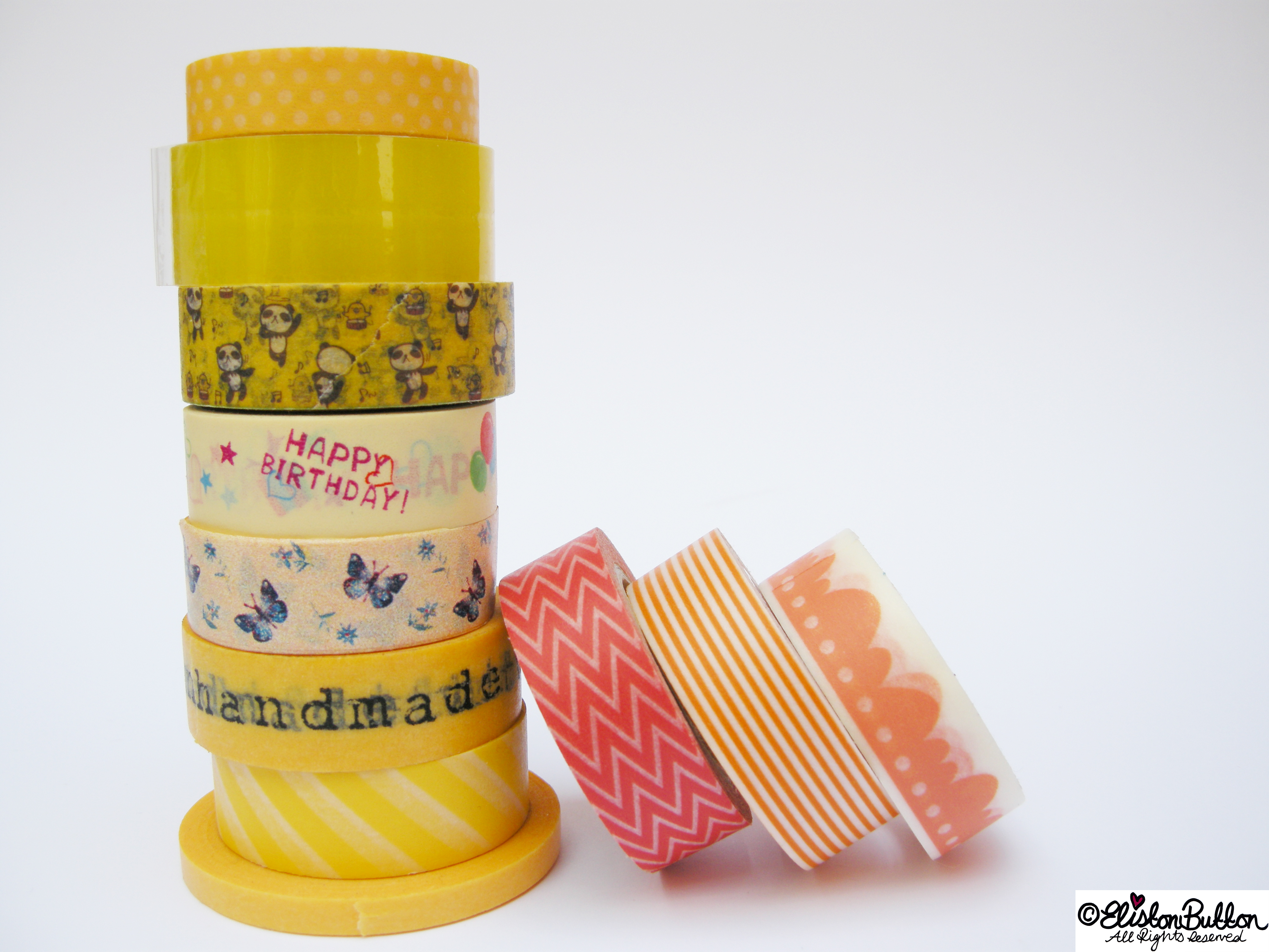 Citrus Oranges and Lemons Piles of Washi Tape Rolls - My Washi Tape Collection at www.elistonbutton.com - Eliston Button - That Crafty Kid – Art, Design, Craft & Adventure.