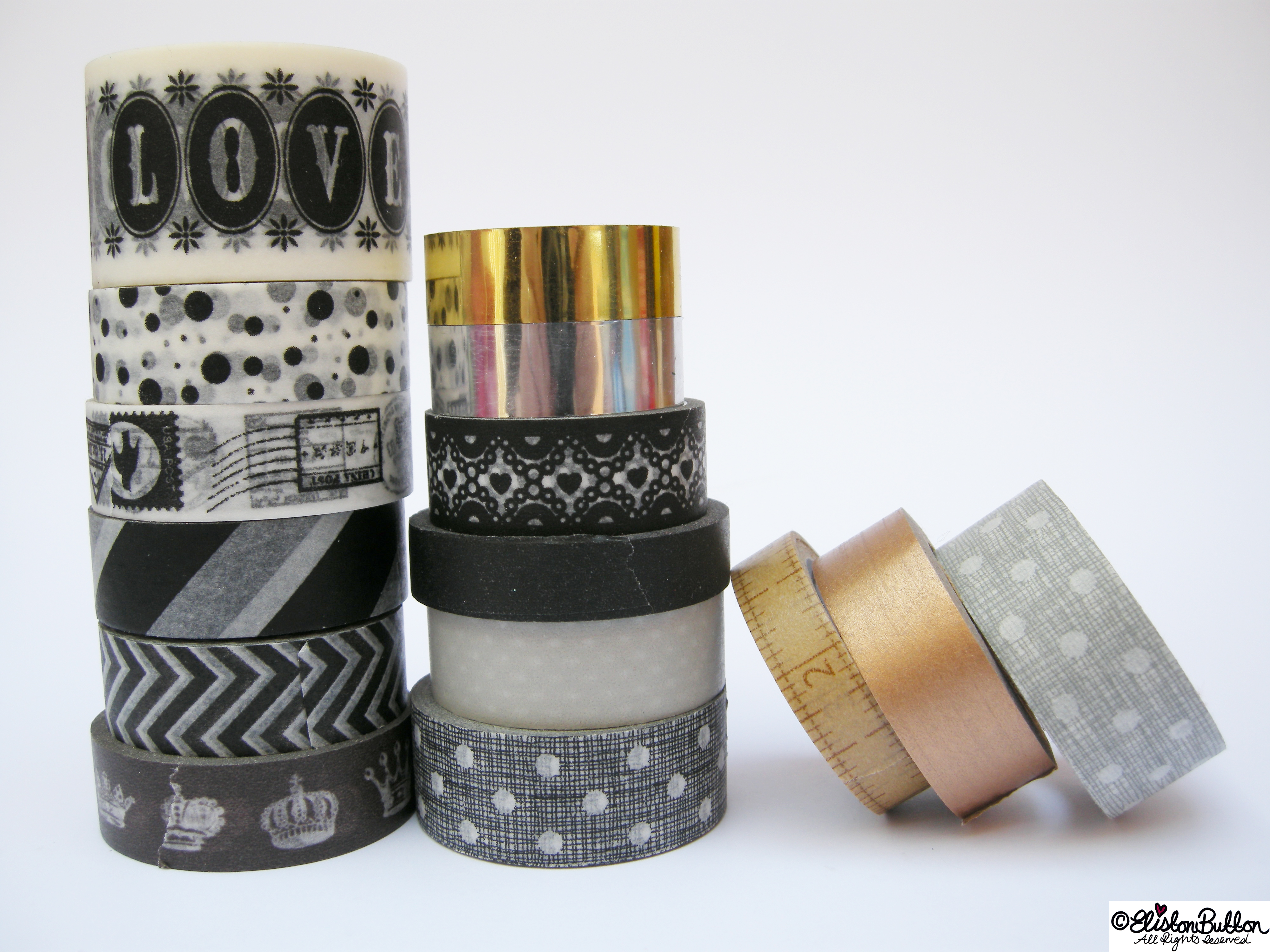 Monochrome and Foil Piles of Washi Tape Rolls - My Washi Tape Collection at www.elistonbutton.com - Eliston Button - That Crafty Kid – Art, Design, Craft & Adventure.