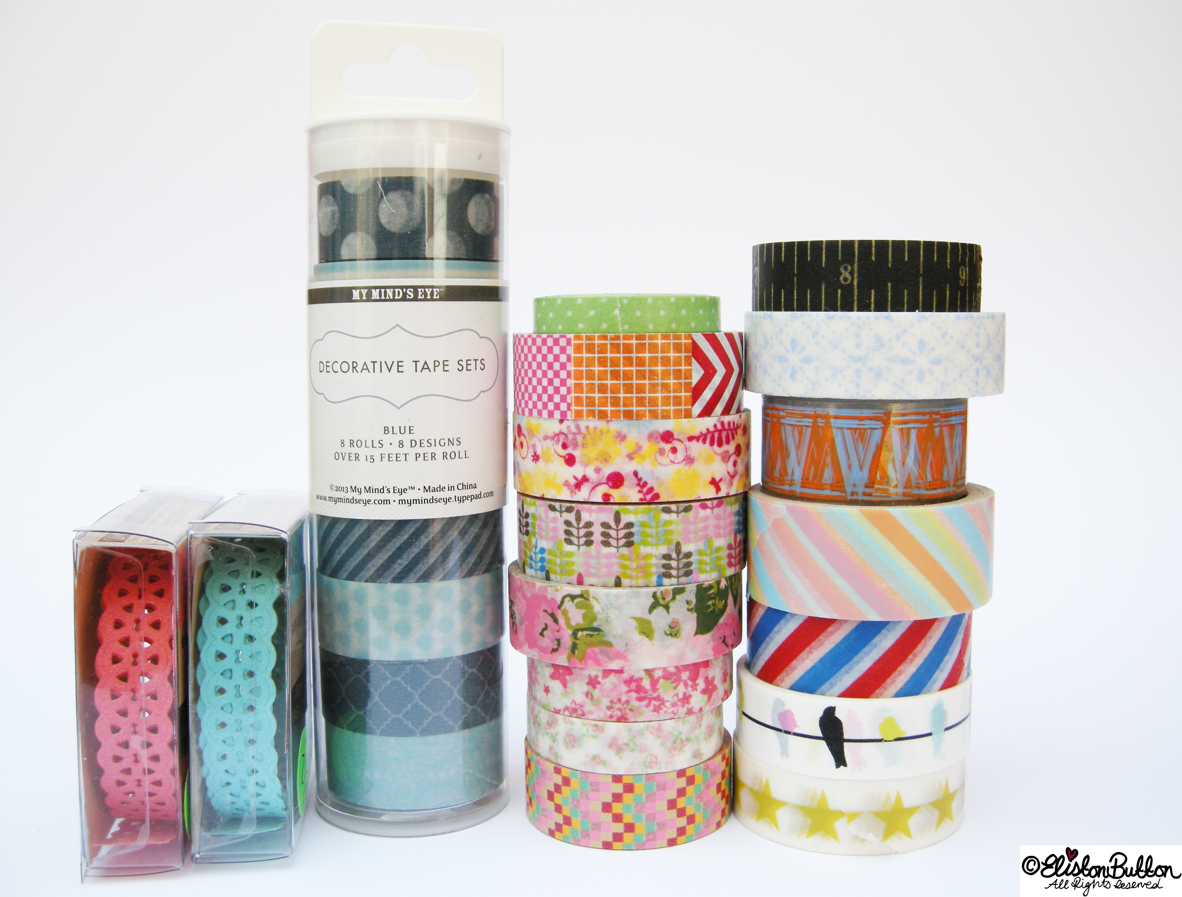 Patterned Piles of Washi Tape Rolls - My Washi Tape Collection at www.elistonbutton.com - Eliston Button - That Crafty Kid – Art, Design, Craft & Adventure.