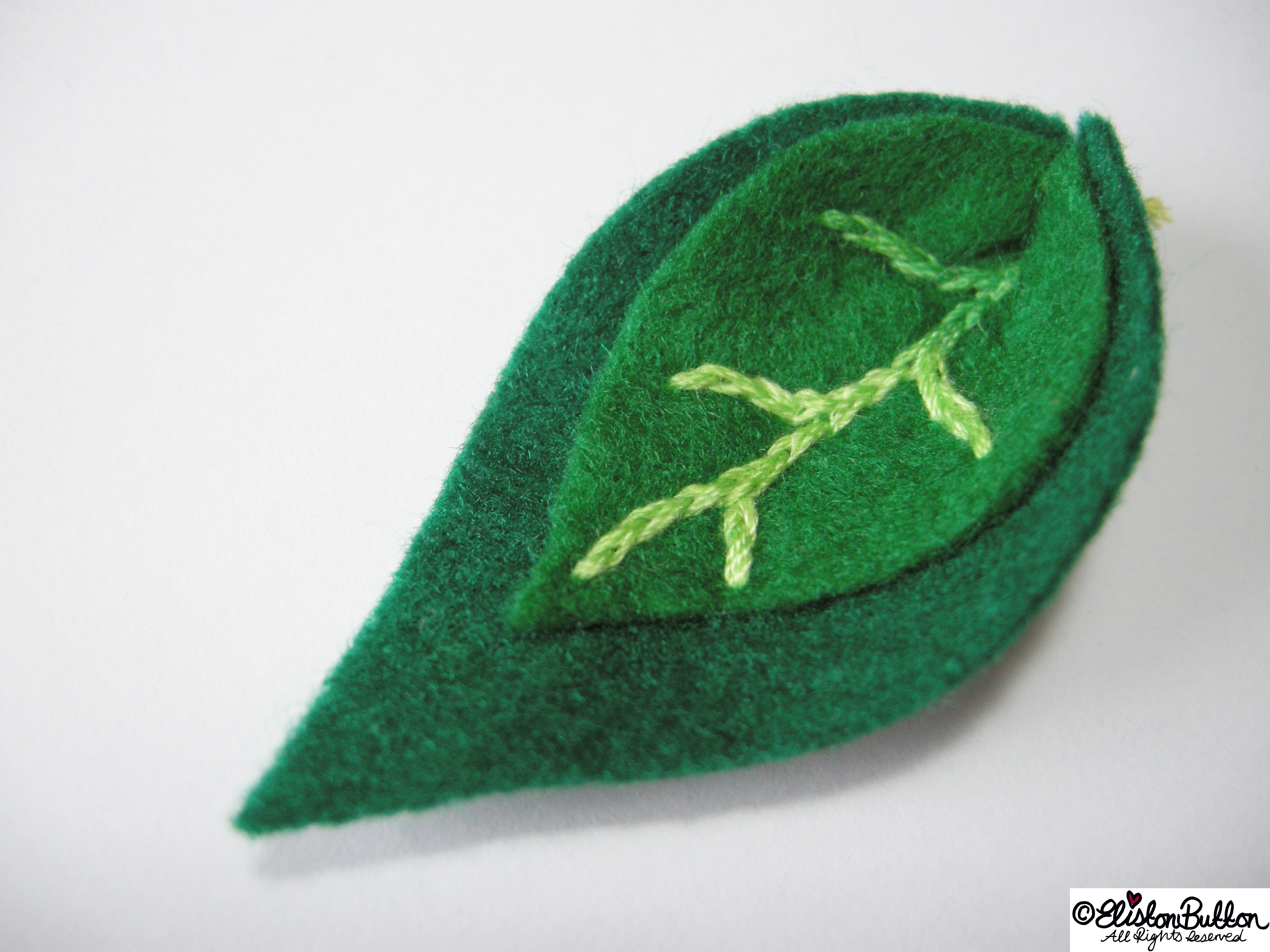 Shades of Green Felt Leaf Shapes Embroidered Detail - 27 Before 27 - Leafy Greens at www.elistonbutton.com - Eliston Button - That Crafty Kid – Art, Design, Craft & Adventure.