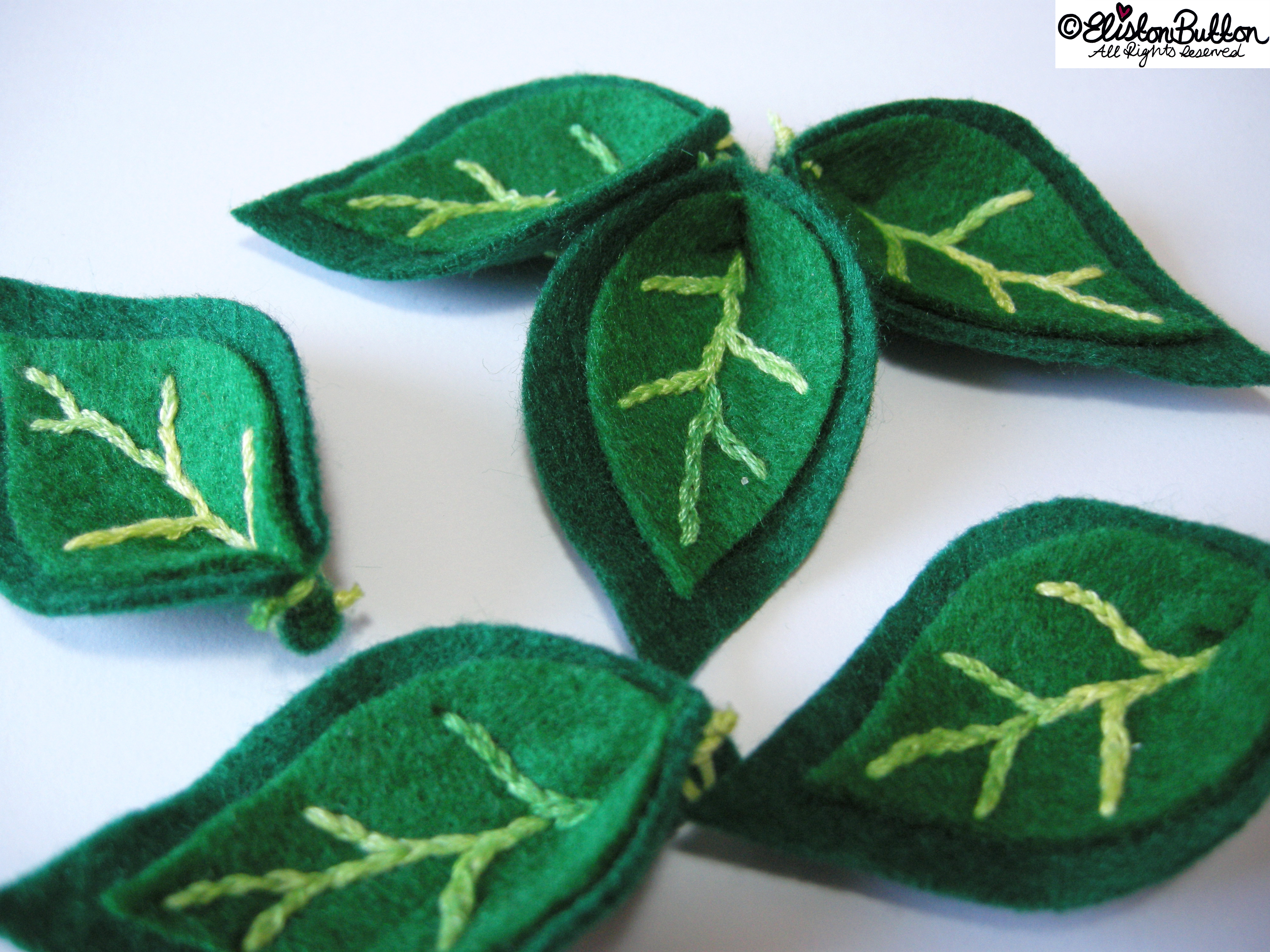 Embroidered Green Felt Leaves - 27 Before 27 - Leafy Greens at www.elistonbutton.com - Eliston Button - That Crafty Kid – Art, Design, Craft & Adventure.