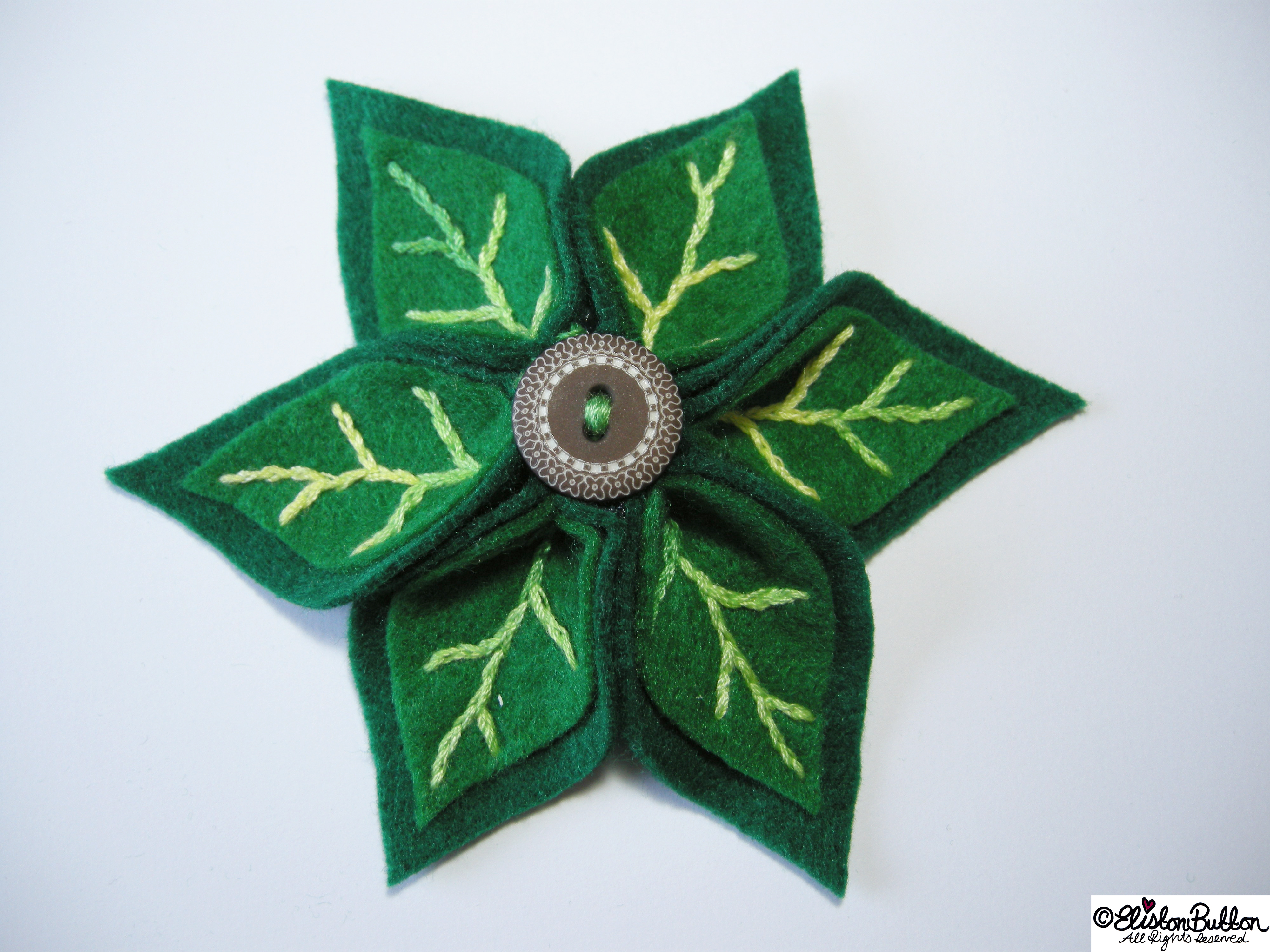 Leafy Greens Embroidered Felt Flower and Leaf Brooch - 27 Before 27 - Leafy Greens at www.elistonbutton.com - Eliston Button - That Crafty Kid – Art, Design, Craft & Adventure.