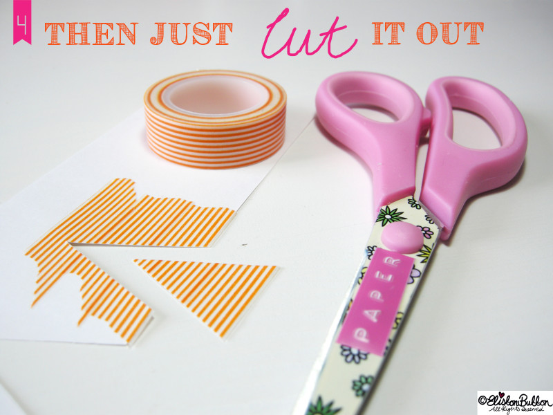 Cutting Out the Bunting Triangles - Washi Tape Bunting Tutorial at www.elistonbutton.com - Eliston Button - That Crafty Kid – Art, Design, Craft & Adventure.