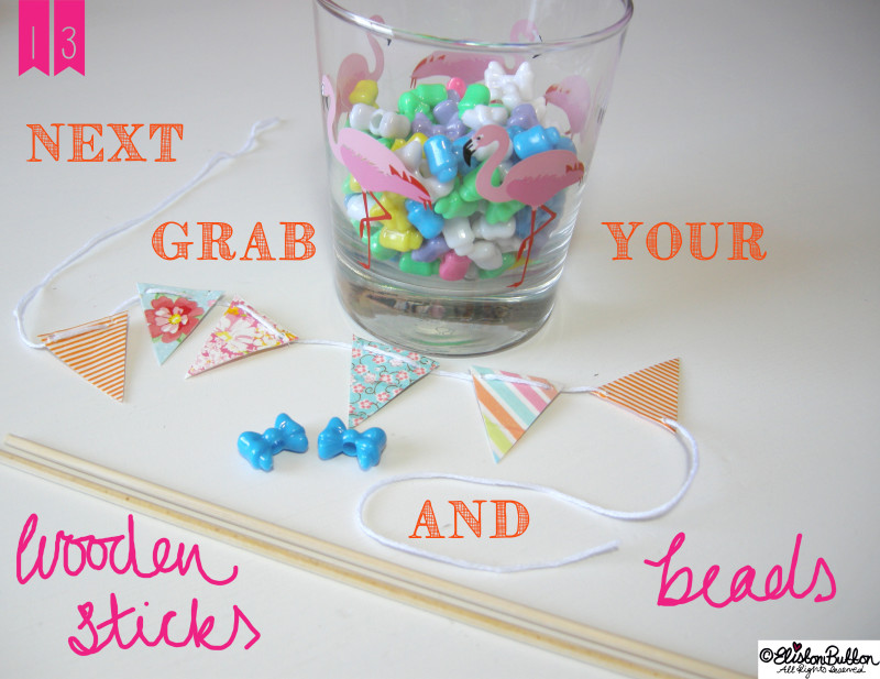 Adding Bow Beads to the Wooden Stick Supports - Washi Tape Bunting Tutorial at www.elistonbutton.com - Eliston Button - That Crafty Kid – Art, Design, Craft & Adventure.