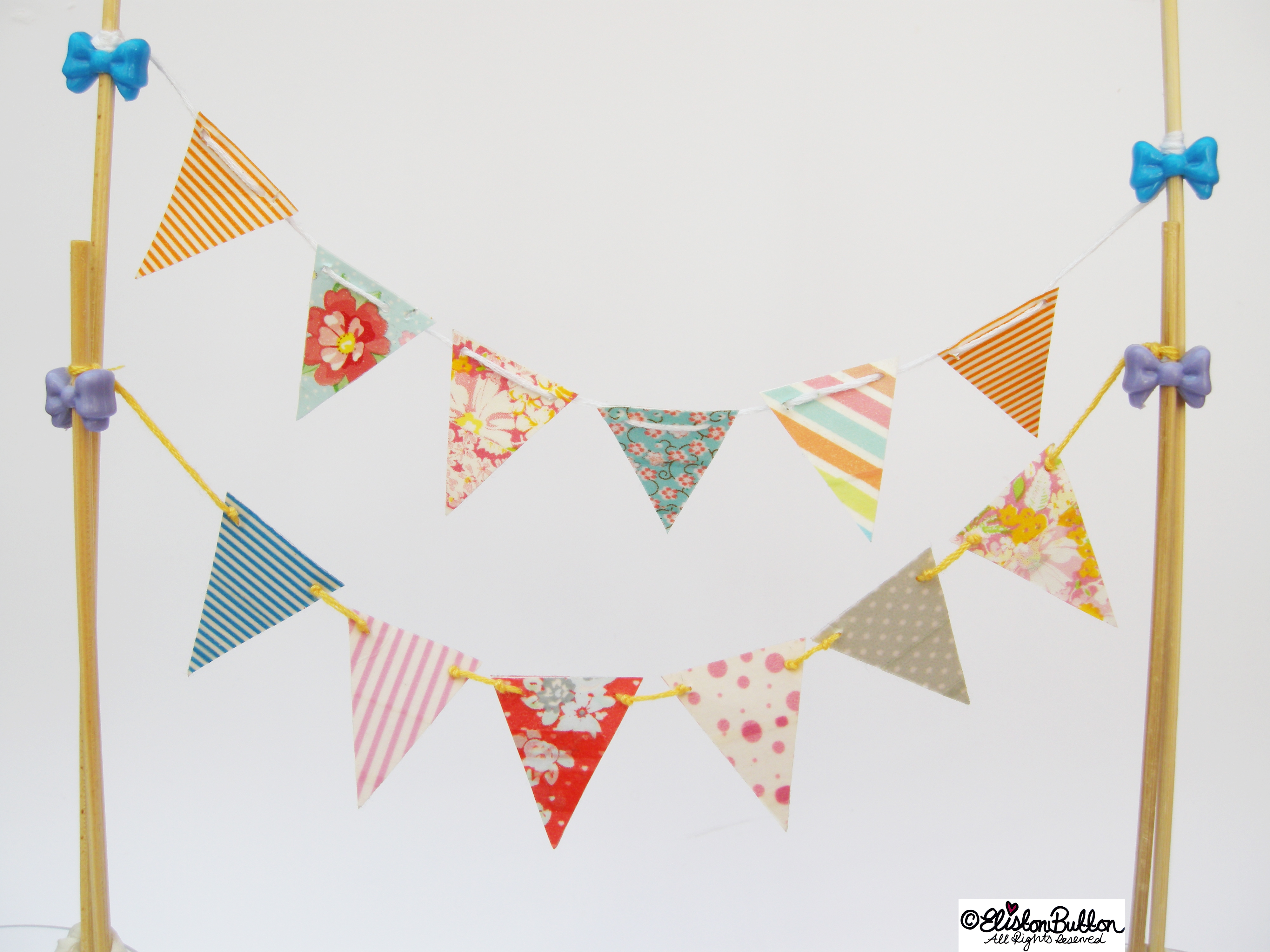 Mini Washi Tape Bunting - Patterns and Colours - Washi Tape Bunting Tutorial at www.elistonbutton.com - Eliston Button - That Crafty Kid – Art, Design, Craft & Adventure.