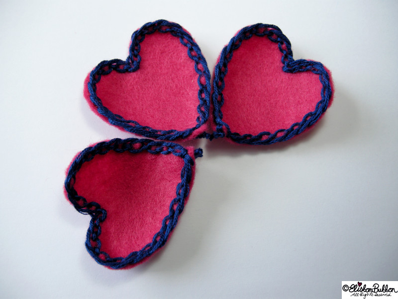 Pink Felt Heart Petals with Navy Blue Lace-Like Embroidery in a Group of Three - 27 Before 27 - Pink Hearts at www.elistonbutton.com - Eliston Button - That Crafty Kid – Art, Design, Craft & Adventure.