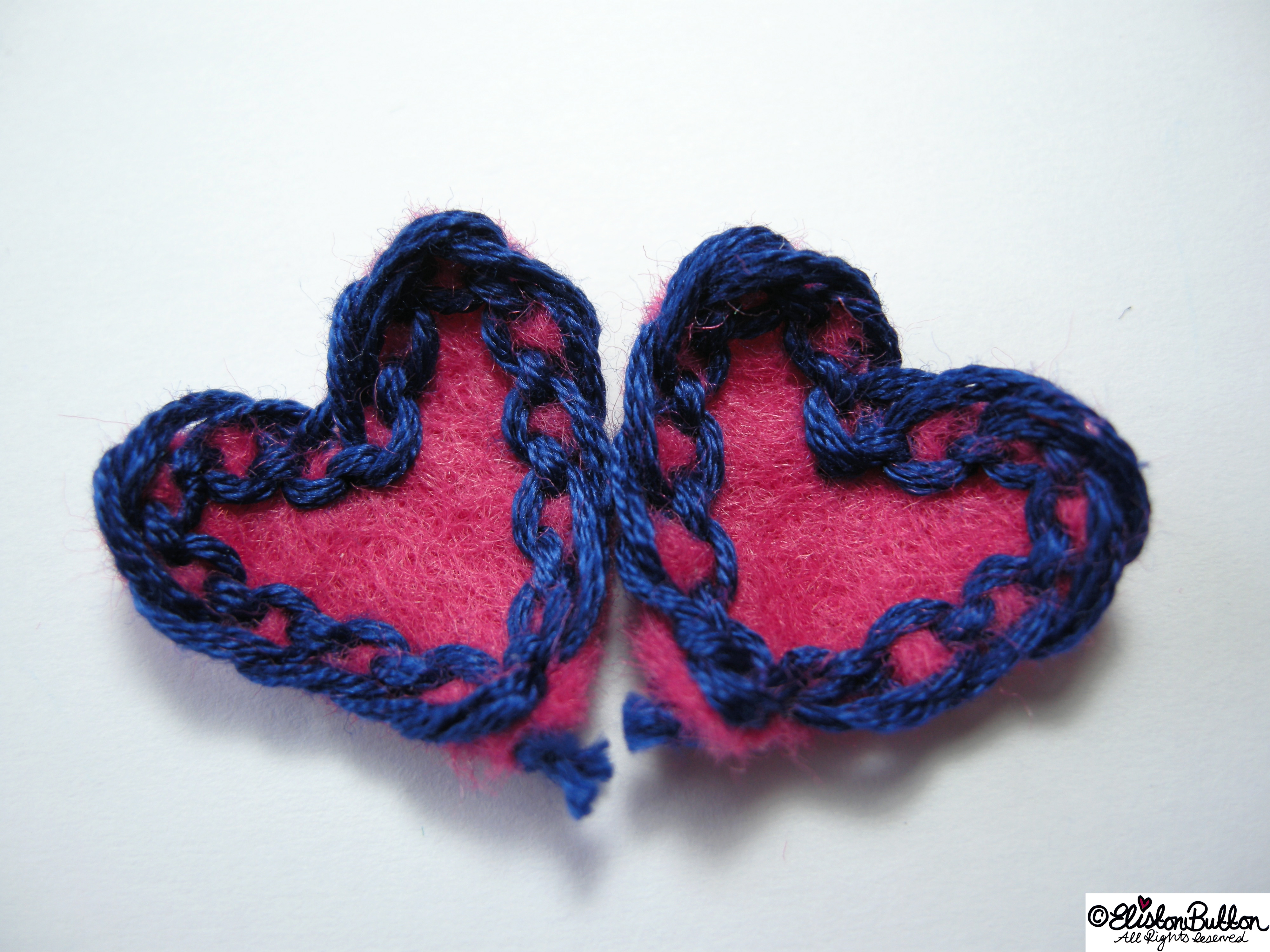 Tiny Pink Felt Heart Petals with Navy Blue Lace-Like Embroidery - 27 Before 27 - Pink Hearts at www.elistonbutton.com - Eliston Button - That Crafty Kid – Art, Design, Craft & Adventure.