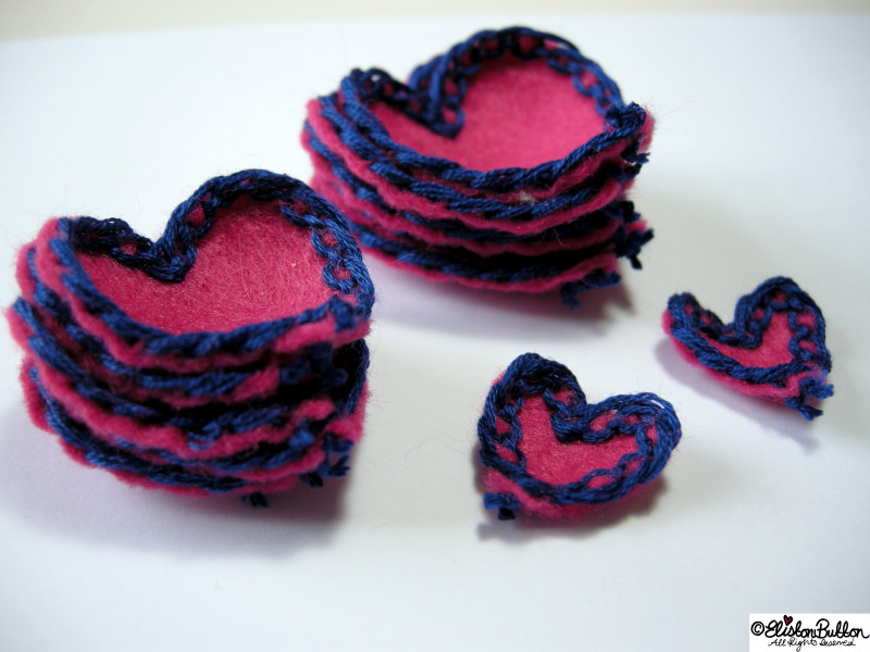 Pink Felt Heart Petals with Navy Blue Lace-Like Embroidery All Together - 27 Before 27 - Pink Hearts at www.elistonbutton.com - Eliston Button - That Crafty Kid – Art, Design, Craft & Adventure.