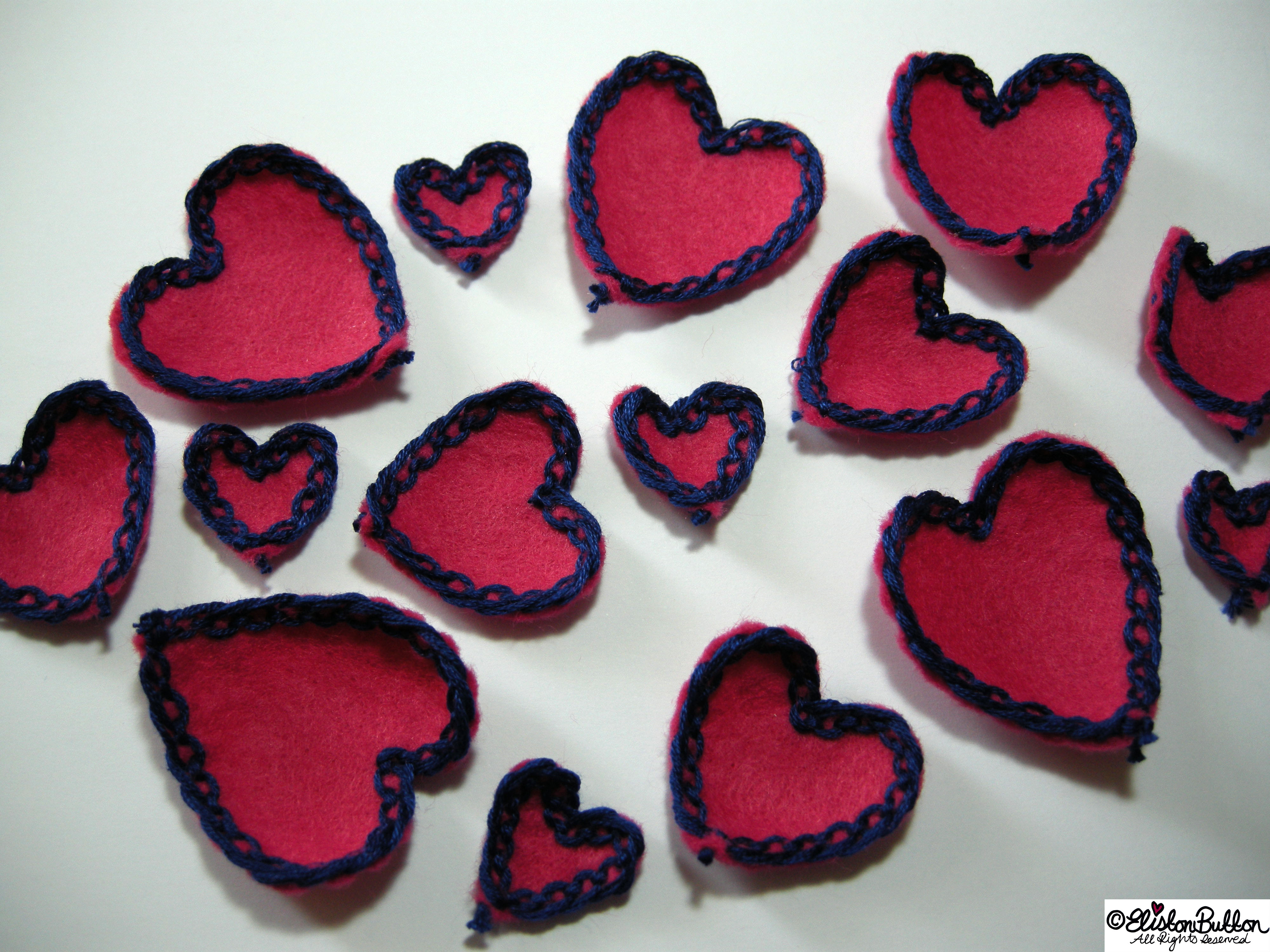 Pink Felt Heart Petals with Navy Blue Lace-Like Embroidery - 27 Before 27 - Pink Hearts at www.elistonbutton.com - Eliston Button - That Crafty Kid – Art, Design, Craft & Adventure.